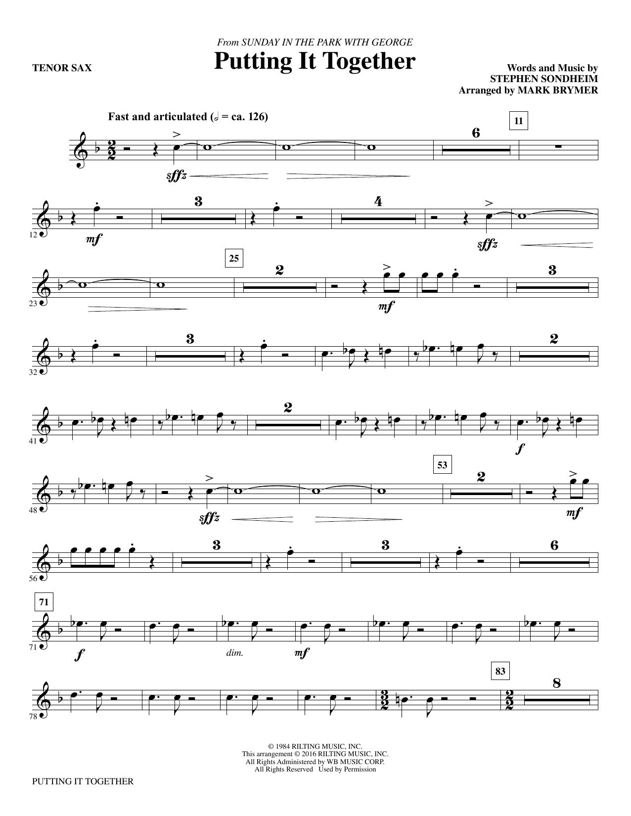 Putting It Together - Tenor Saxophone Sheet Music