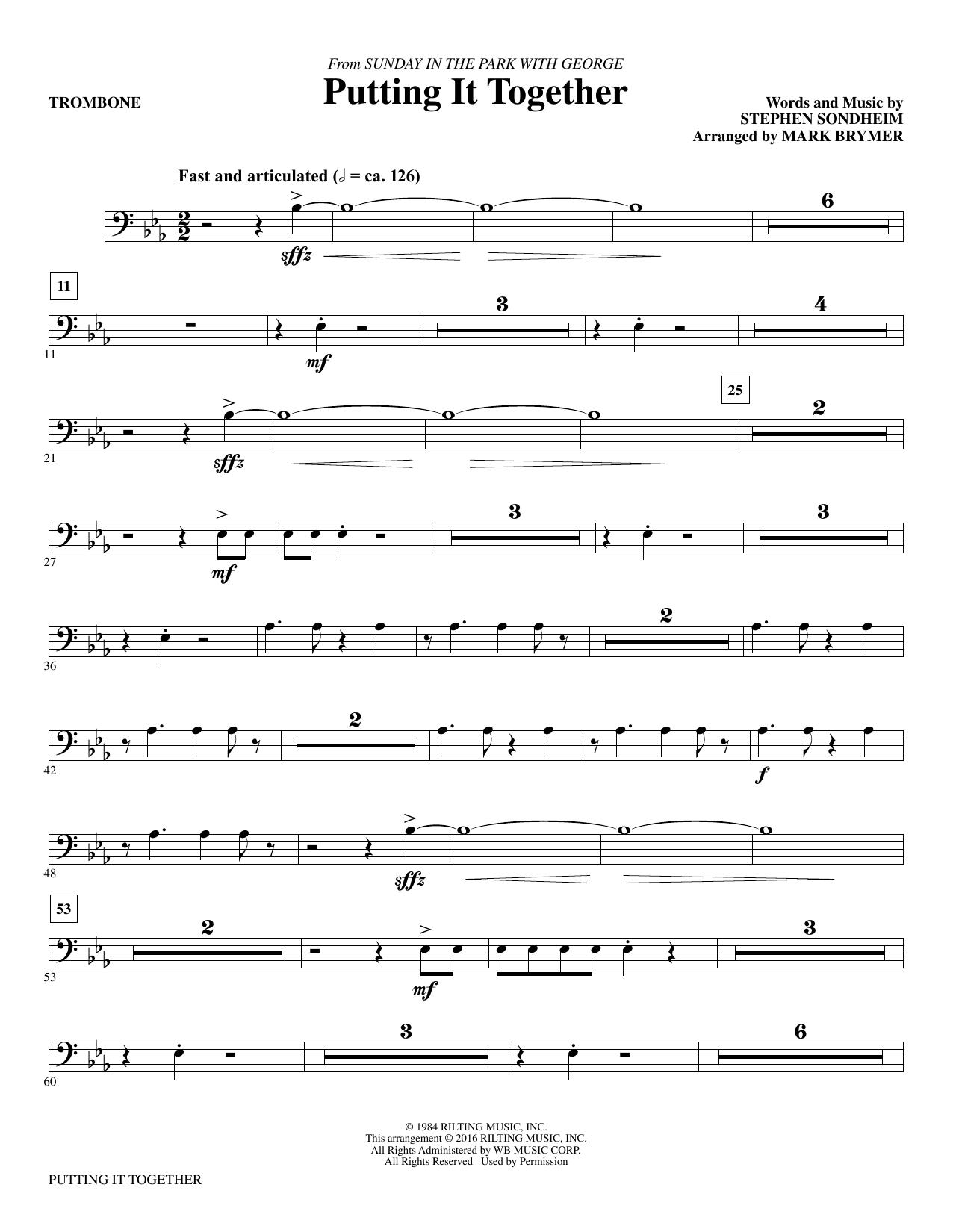 Putting It Together - Trombone (Choir Instrumental Pak)