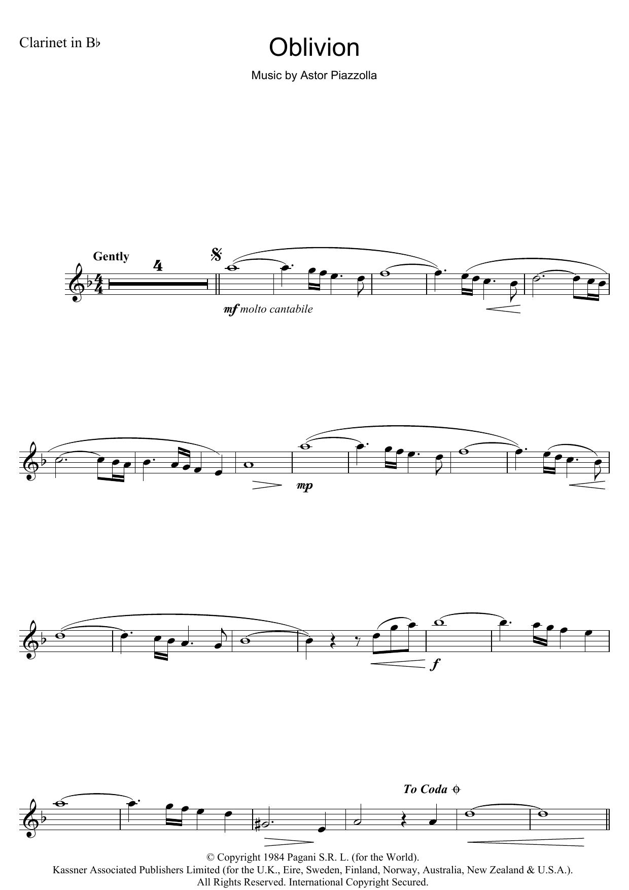 Oblivion (Clarinet Solo)