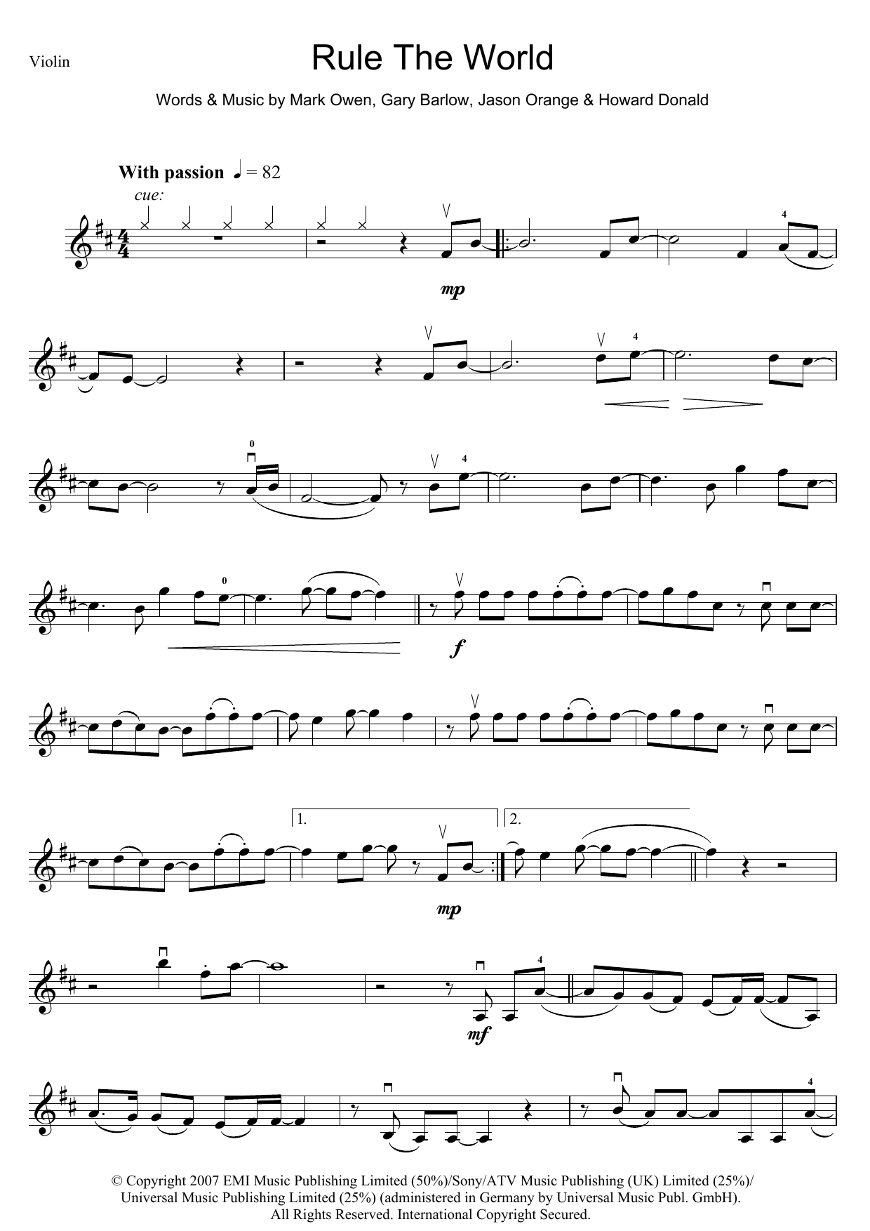 Rule The World (from Stardust) (Violin Solo)