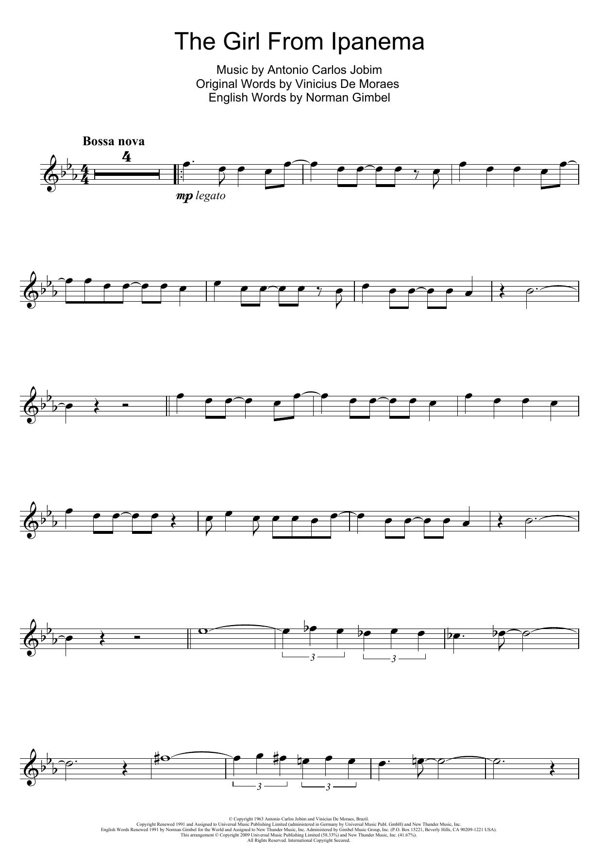 The Girl From Ipanema (Garota De Ipanema) (Flute Solo)
