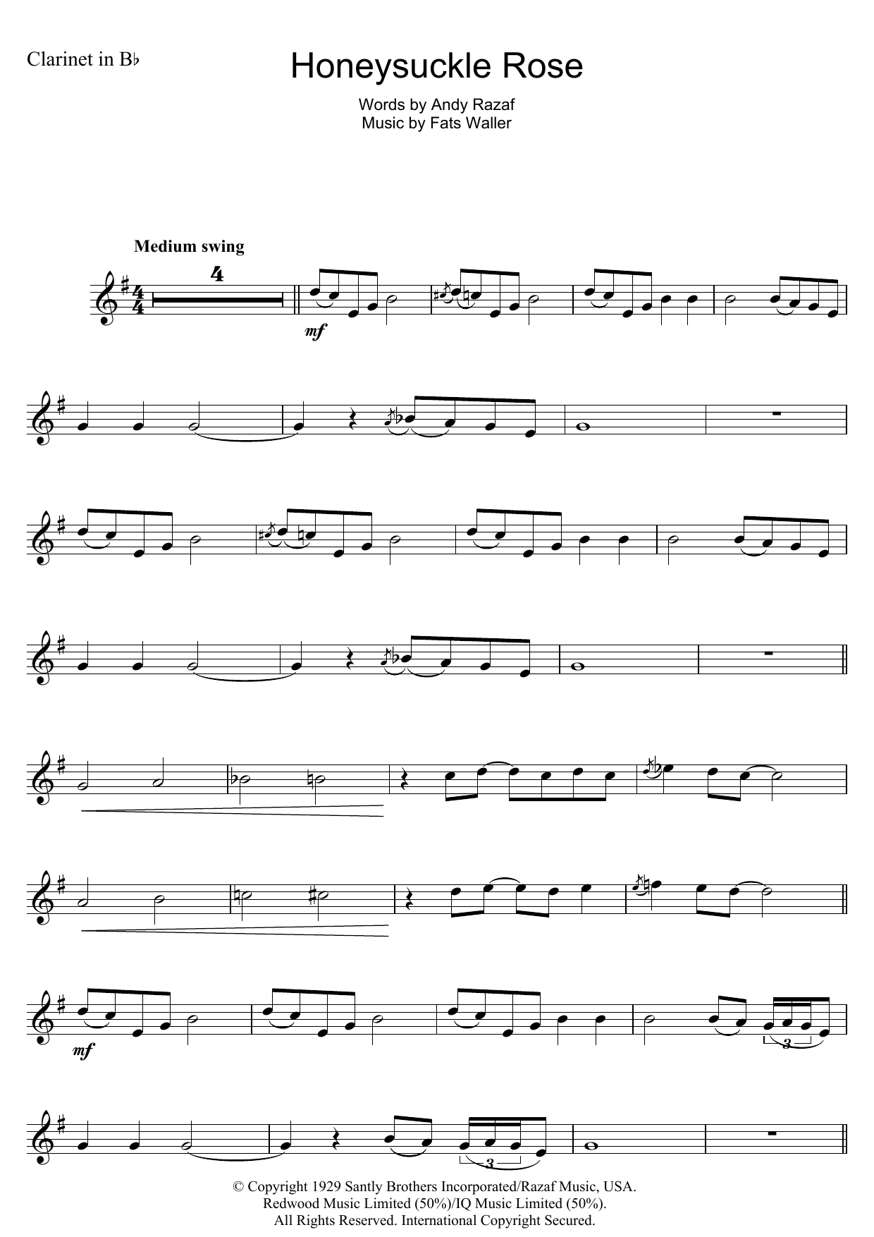 Honeysuckle Rose Sheet Music
