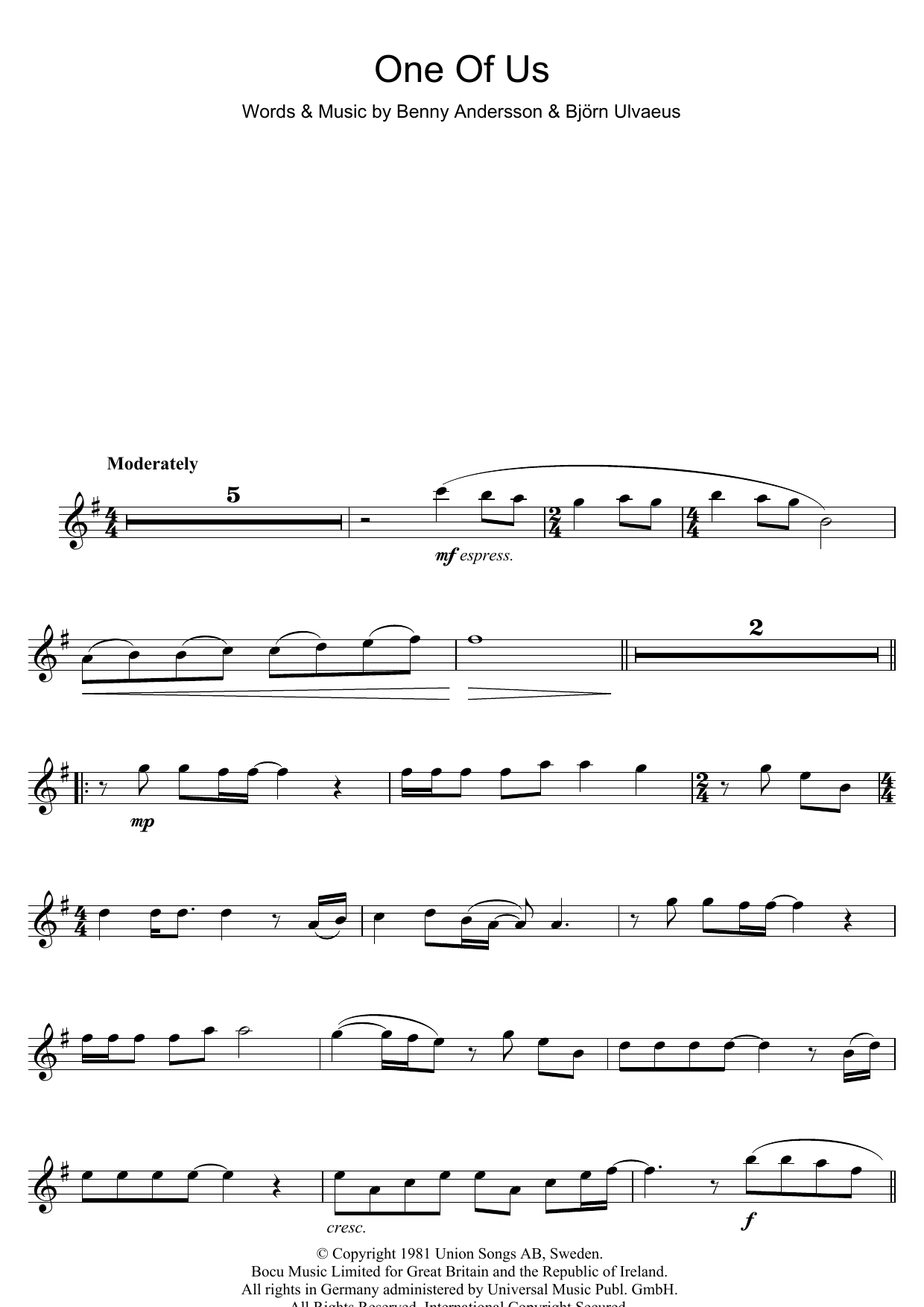 One Of Us Sheet Music | ABBA | Flute - photo#17