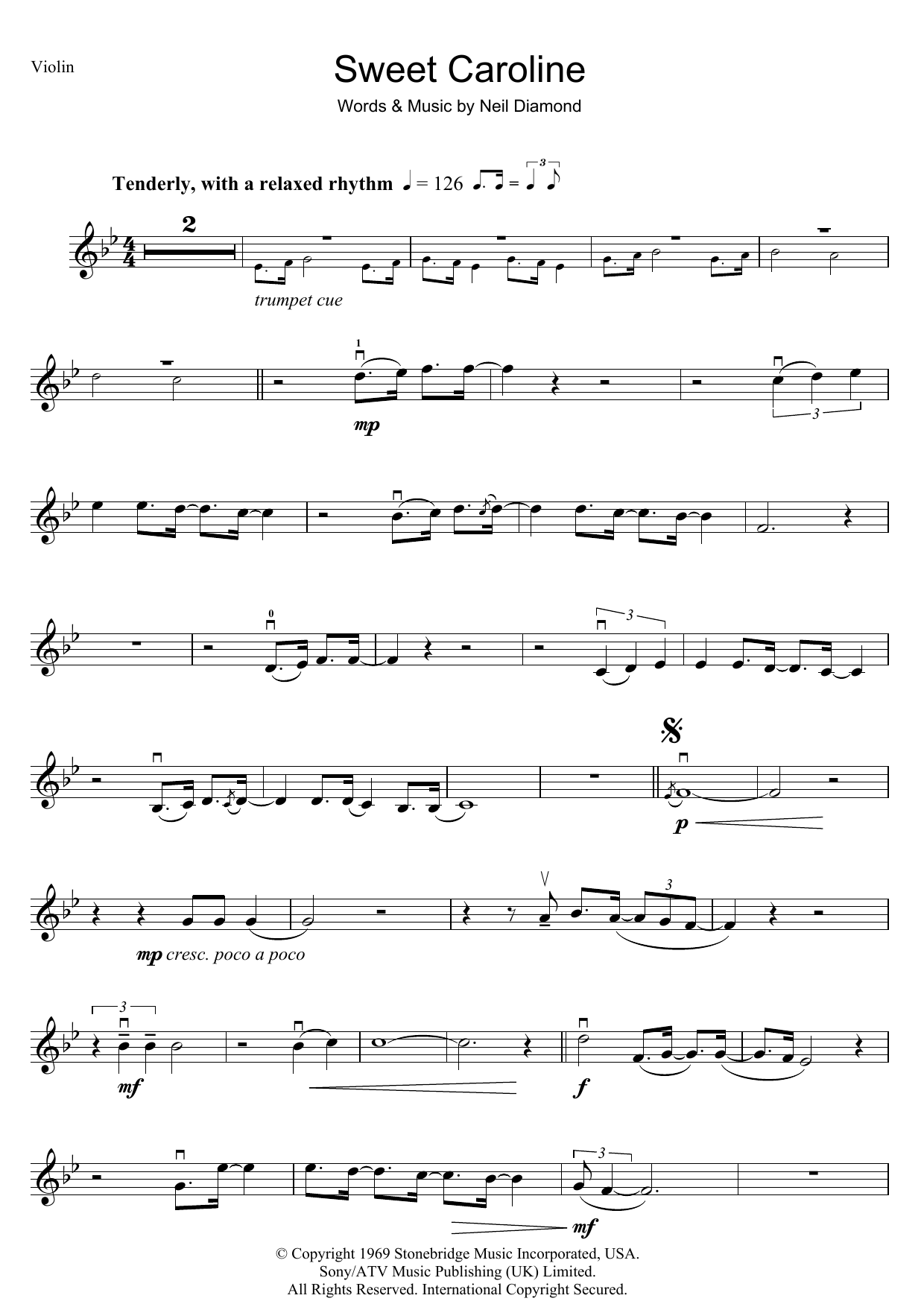 Sweet Caroline Sheet Music | Neil Diamond | Violin Solo