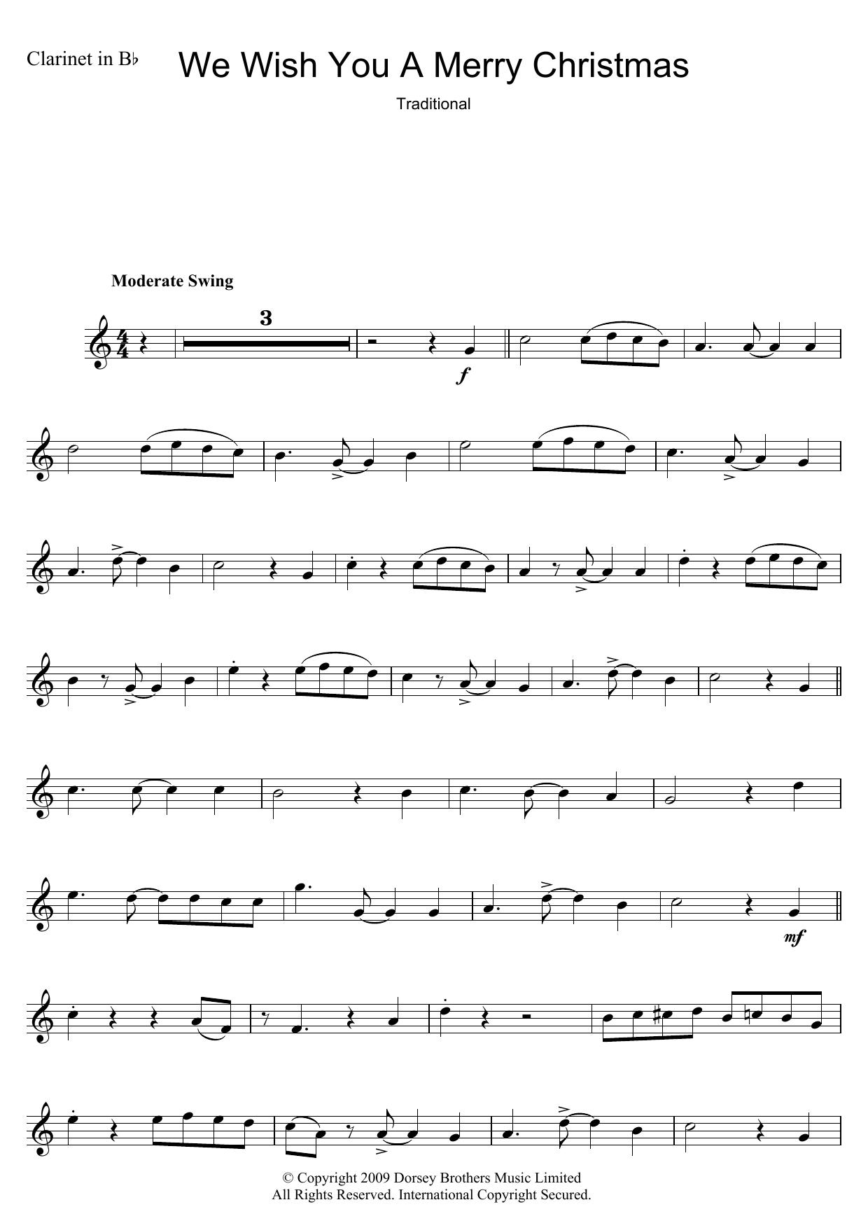Clarinet Sheet Music Christmas.We Wish You A Merry Christmas By Christmas Carol Keyboard Abridged Digital Sheet Music