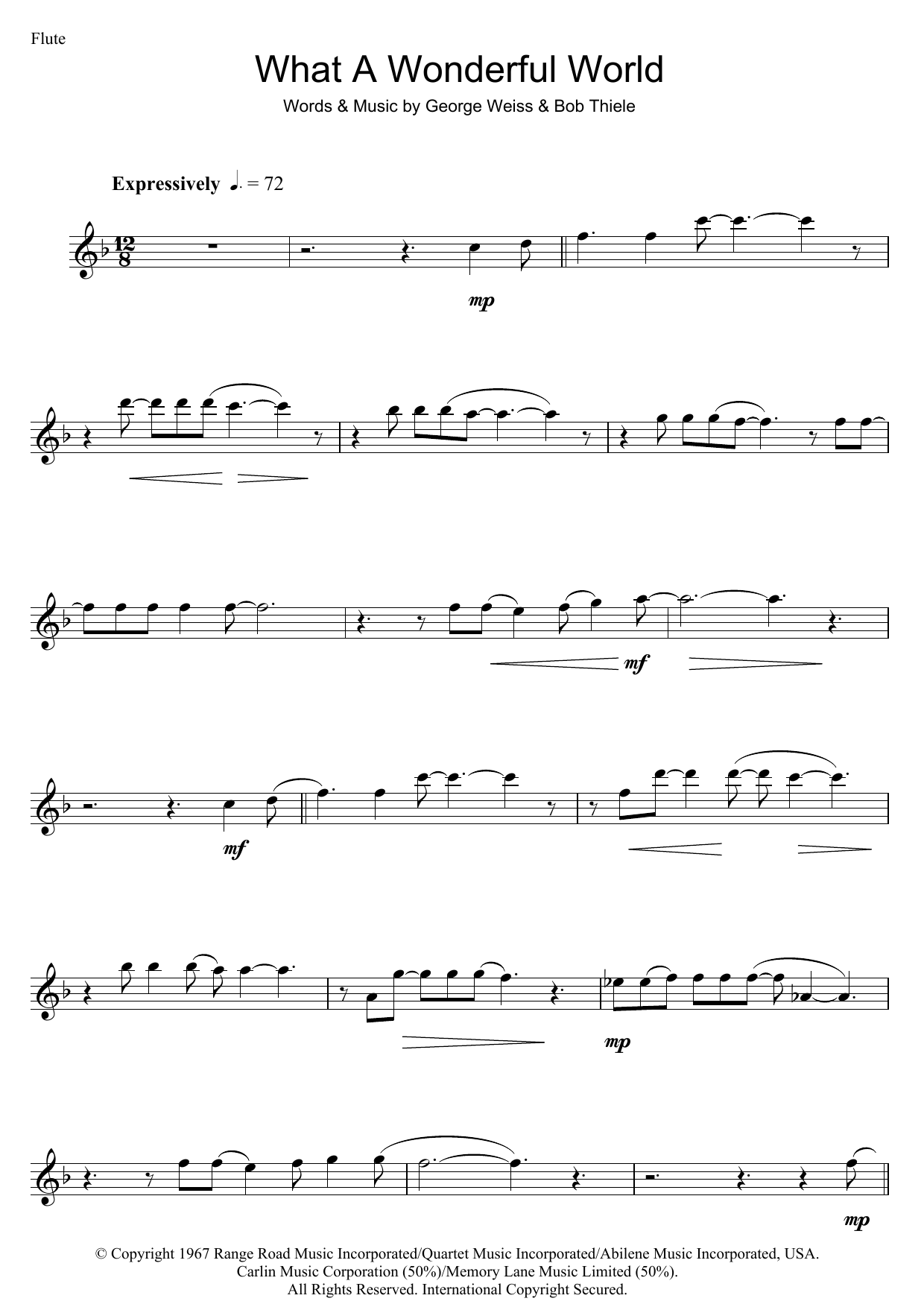 What a wonderful world guitar chords image collections guitar what a wonderful world sheet music by louis armstrong flute 47090 louis armstrong what a wonderful hexwebz Images