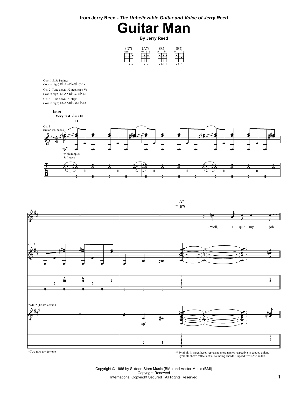Guitar Man By Jerry Reed Guitar Tab Guitar Instructor