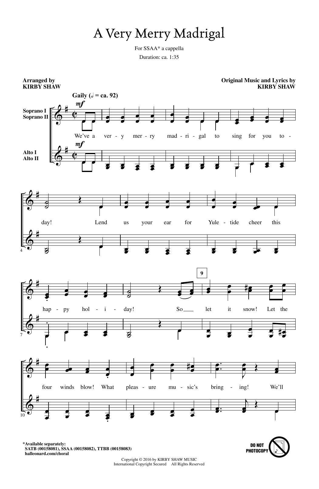 A Very Merry Madrigal (SSA Choir)