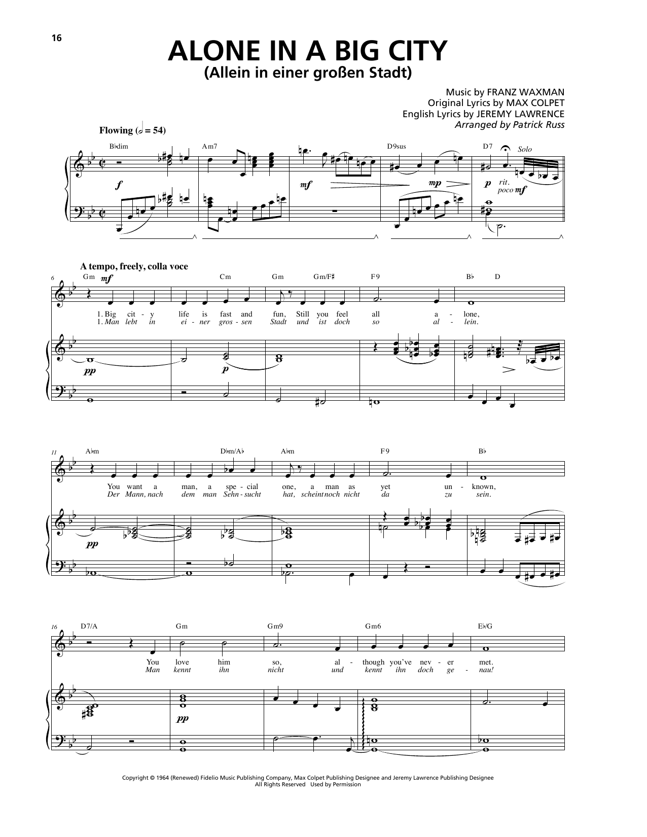 Alone In A Big City Sheet Music