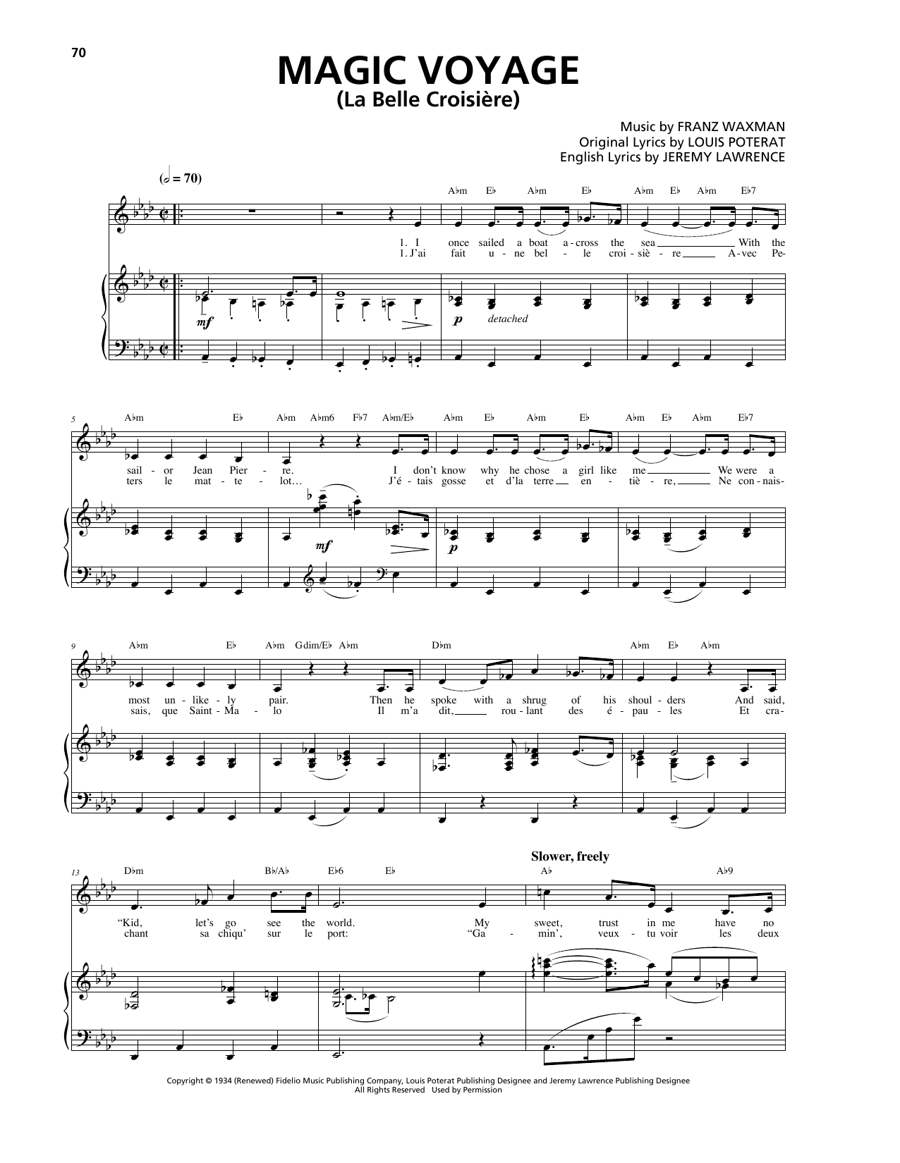 Magic Voyage (La Belle Croisière) Sheet Music