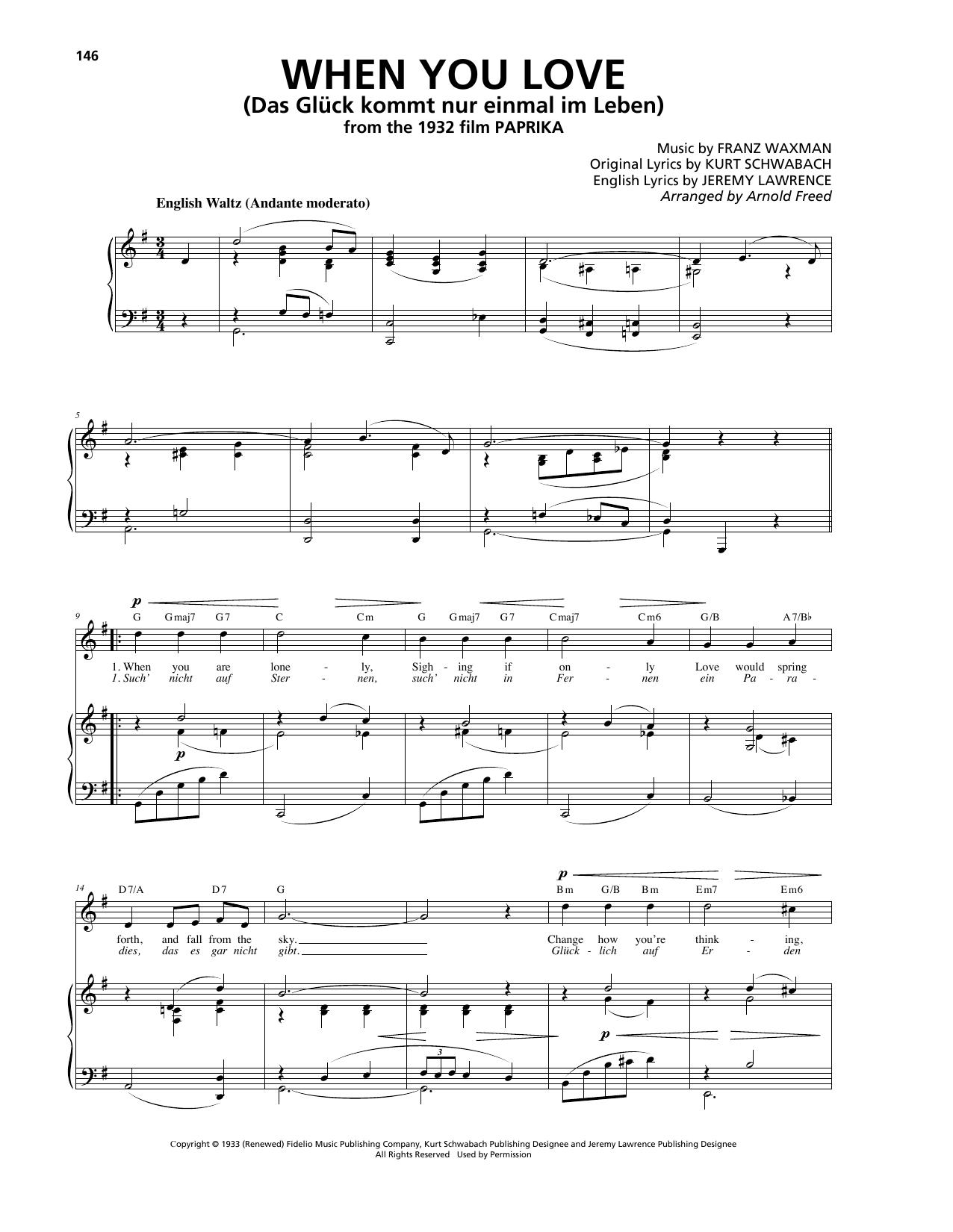 When You Love (Das Glück kommt nur einmal im Leben) (Piano, Vocal & Guitar (Right-Hand Melody))