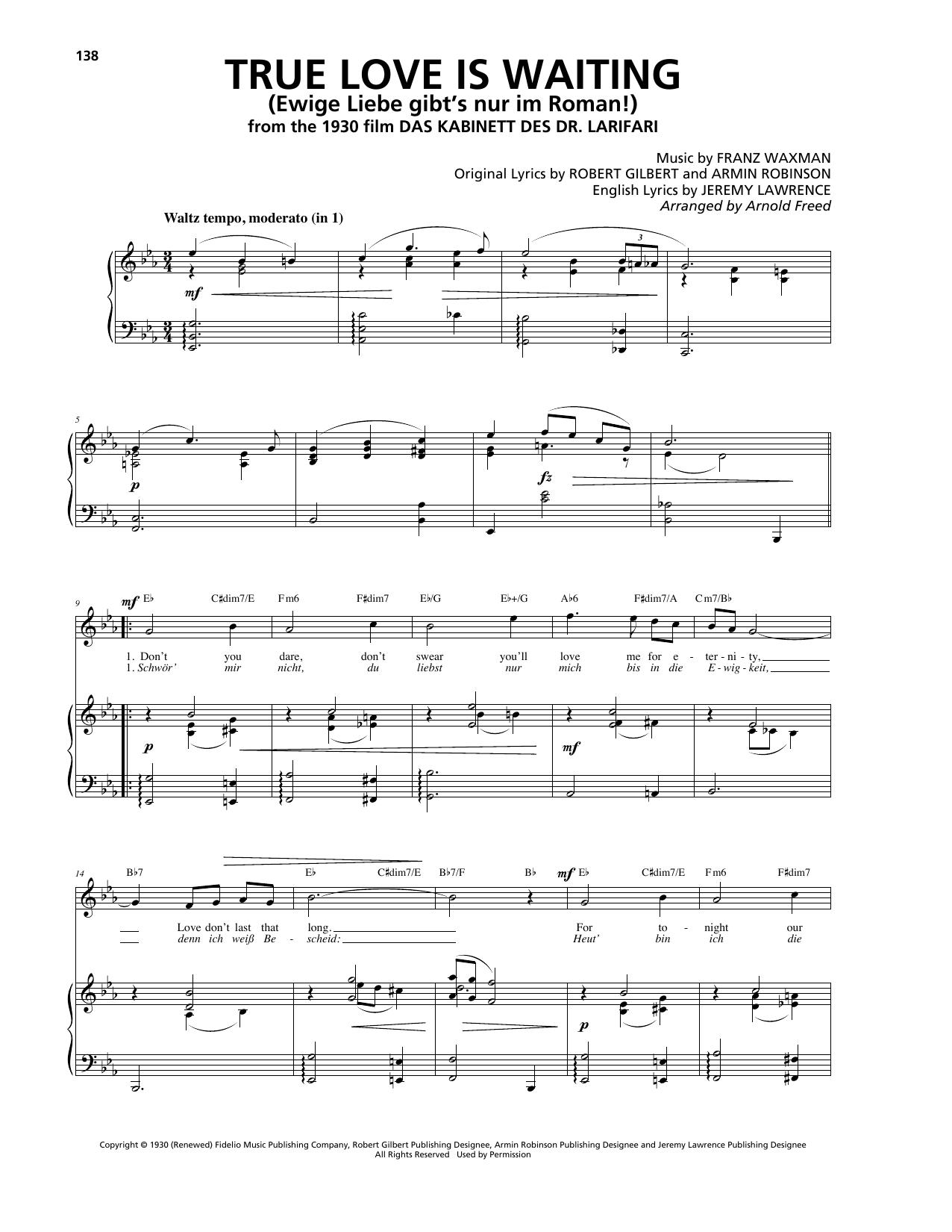 True Love Is Waiting (Ewige Liebe gibt's nur im Roman!) (Piano, Vocal & Guitar (Right-Hand Melody))