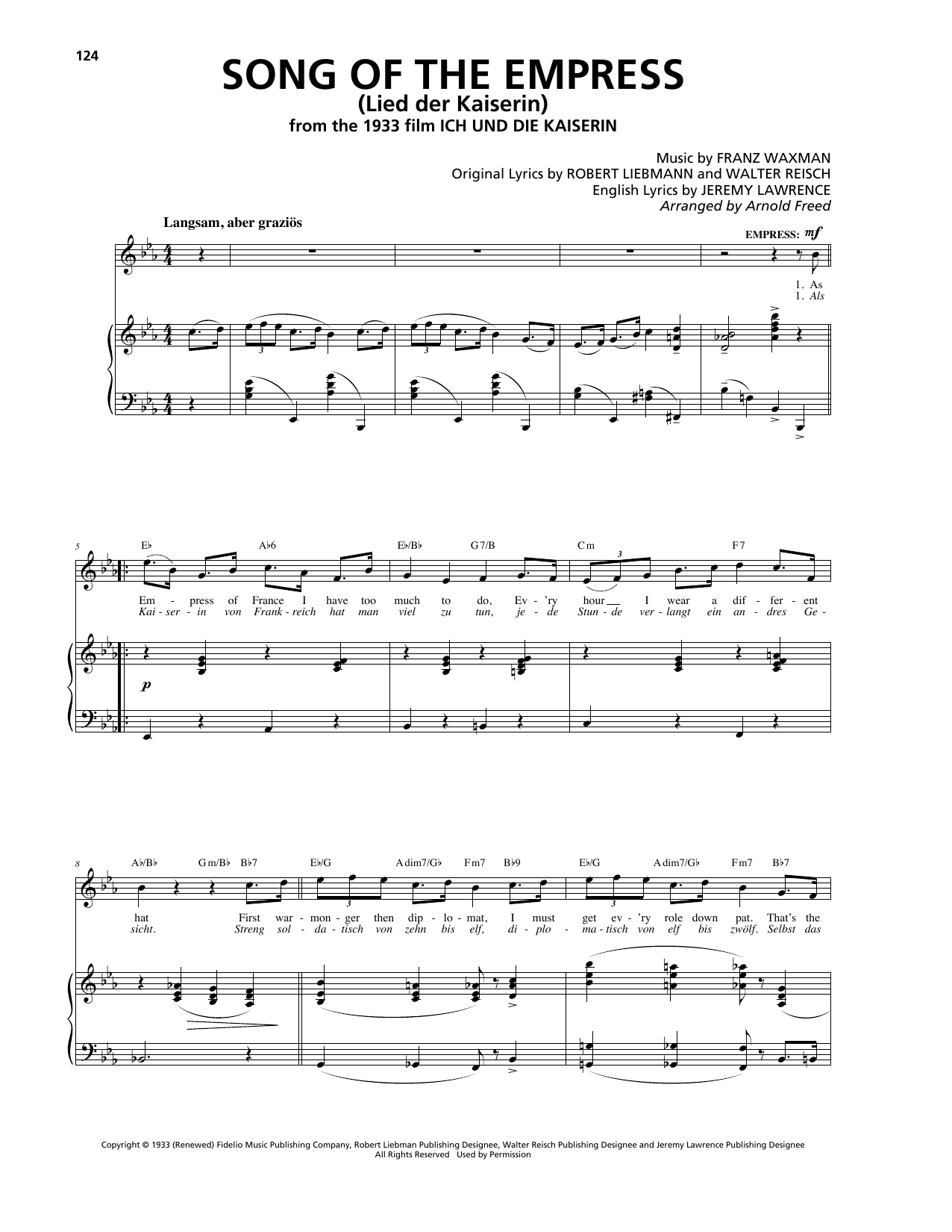Song Of The Empress (Lied der Kaiserin) (Piano, Vocal & Guitar (Right-Hand Melody))