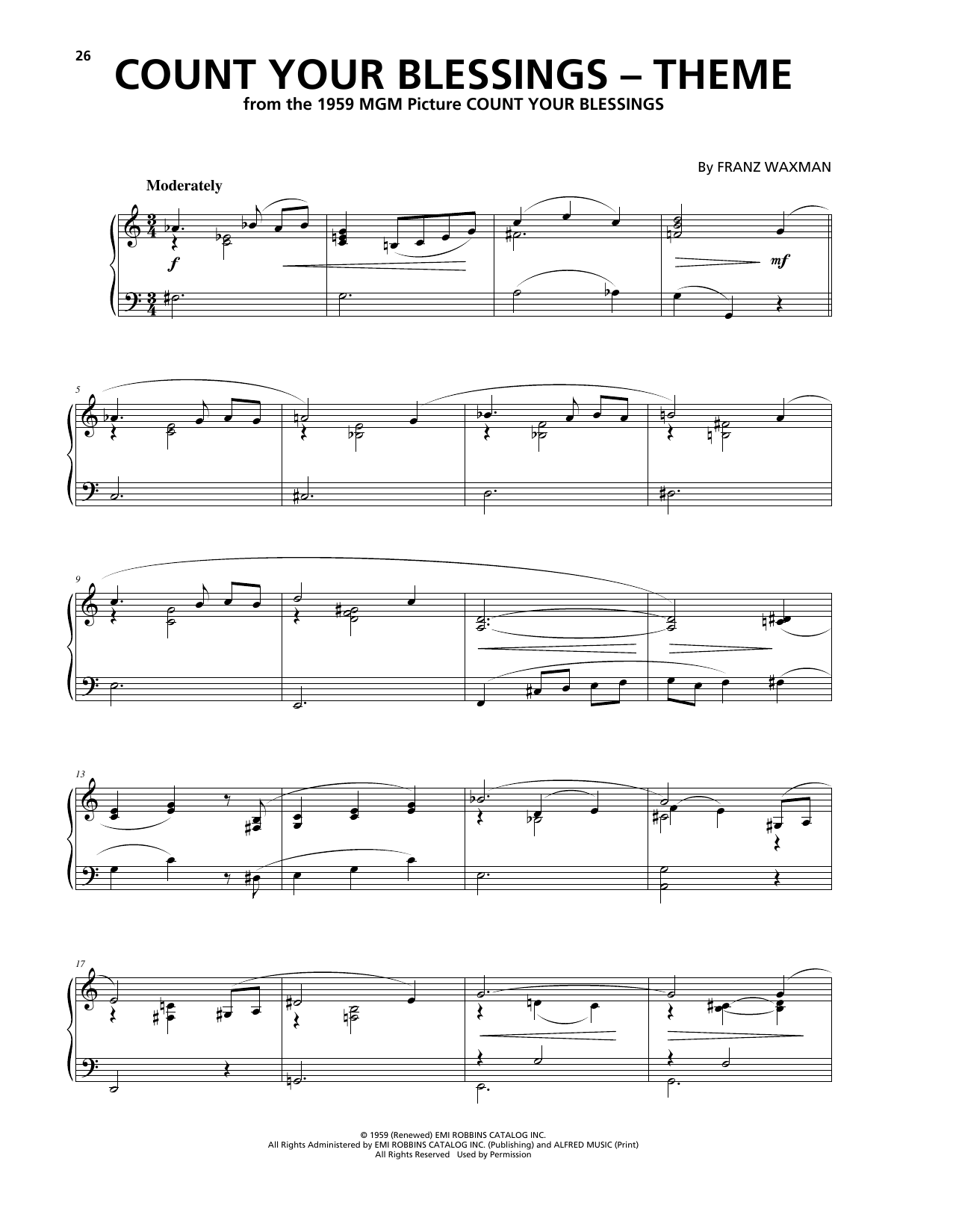 Count Your Blessings (Theme) Sheet Music