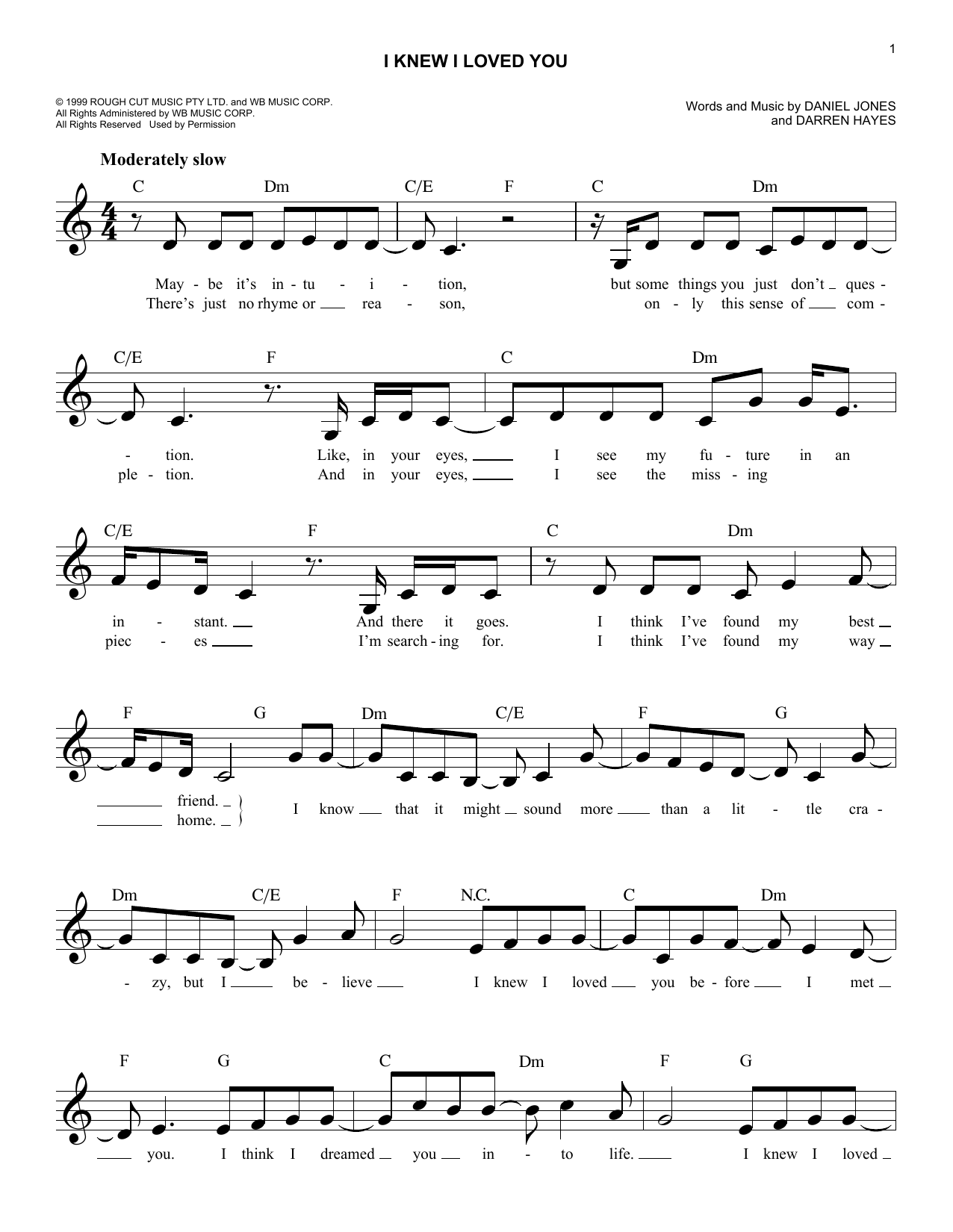 Lovely I Knew I Loved You Sheet Music. Savage Garden ...