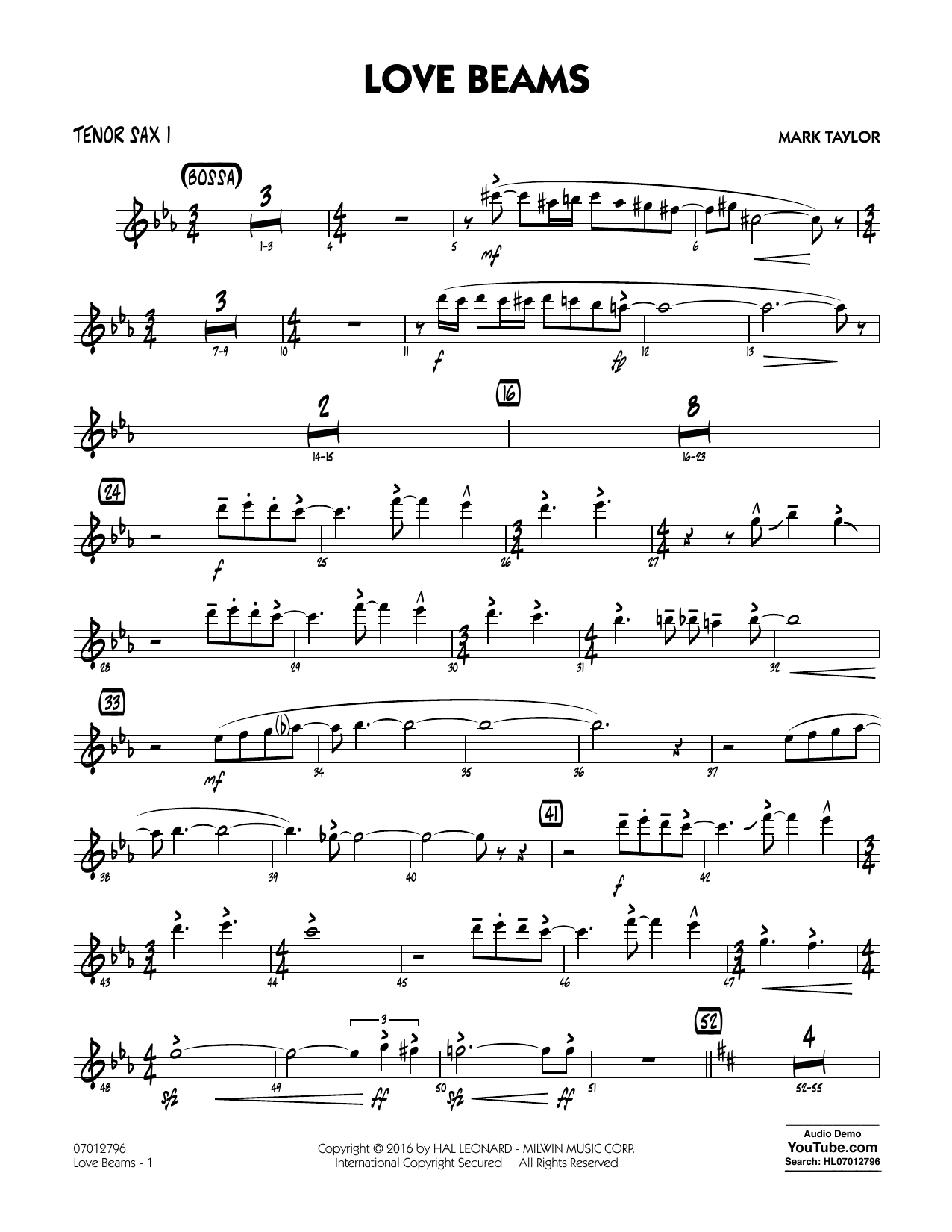 Love Beams - Tenor Sax 1 (Jazz Ensemble)