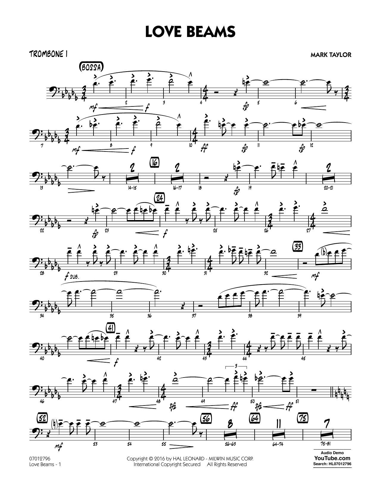 Love Beams - Trombone 1 (Jazz Ensemble)