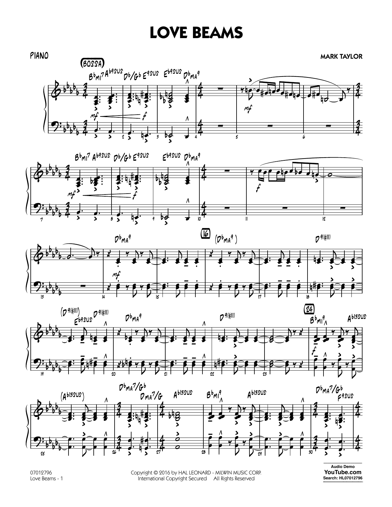 Love Beams - Piano (Jazz Ensemble)