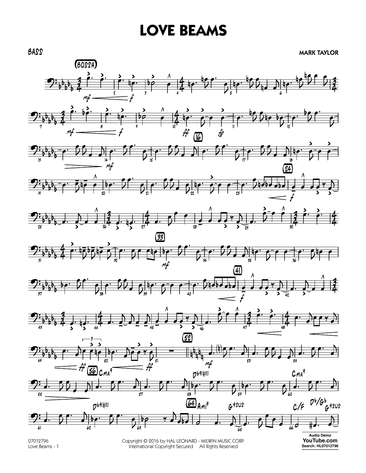 Love Beams - Bass (Jazz Ensemble)