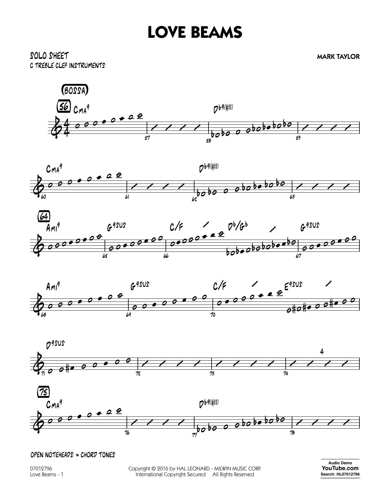 Love Beams - C Solo Sheet (Jazz Ensemble)