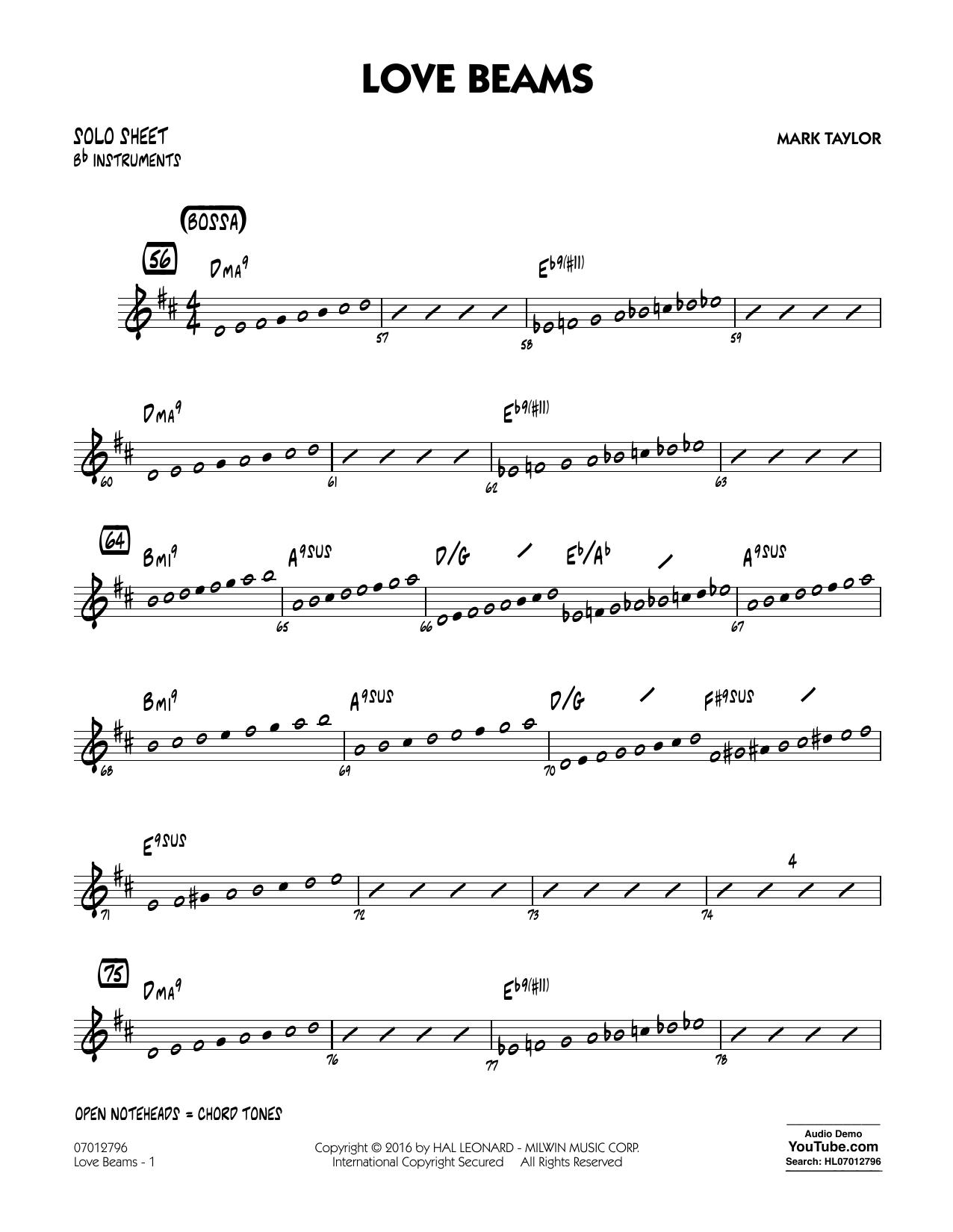 Love Beams - Bb Solo Sheet (Jazz Ensemble)