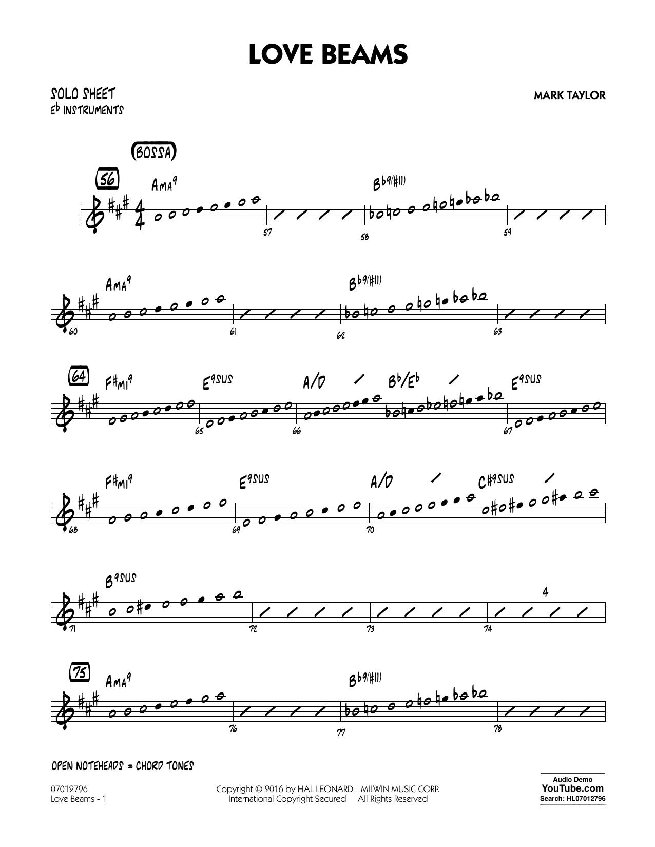 Love Beams - Eb Solo Sheet (Jazz Ensemble)