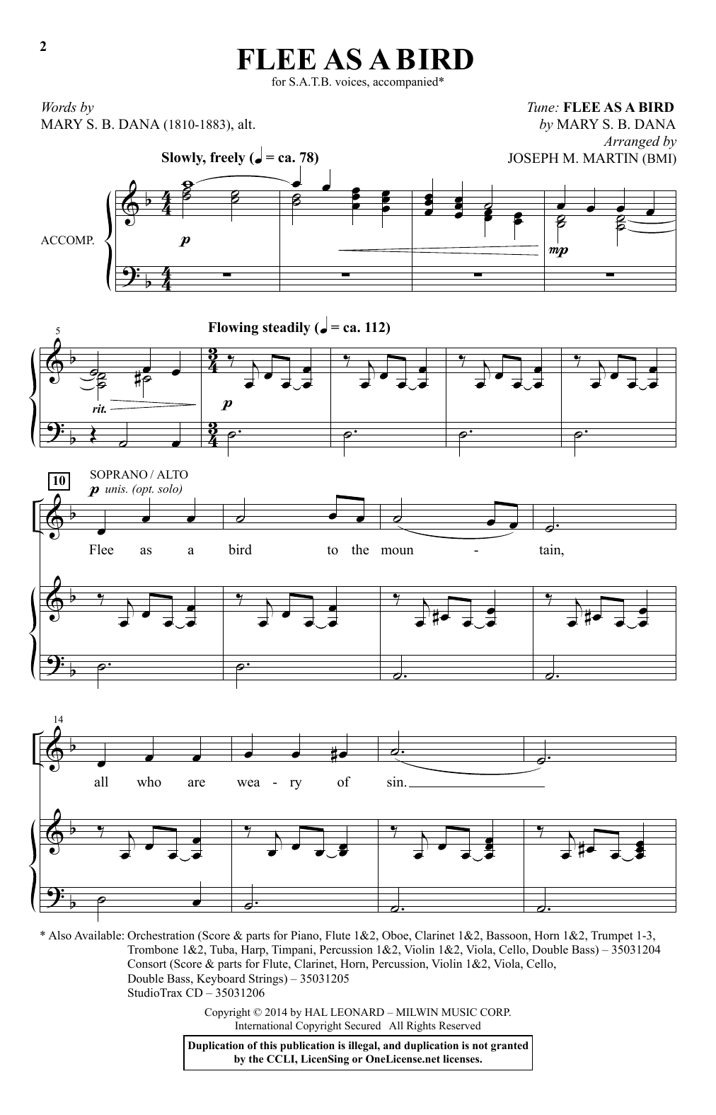 Flee As A Bird (arr. Joseph M. Martin) Sheet Music