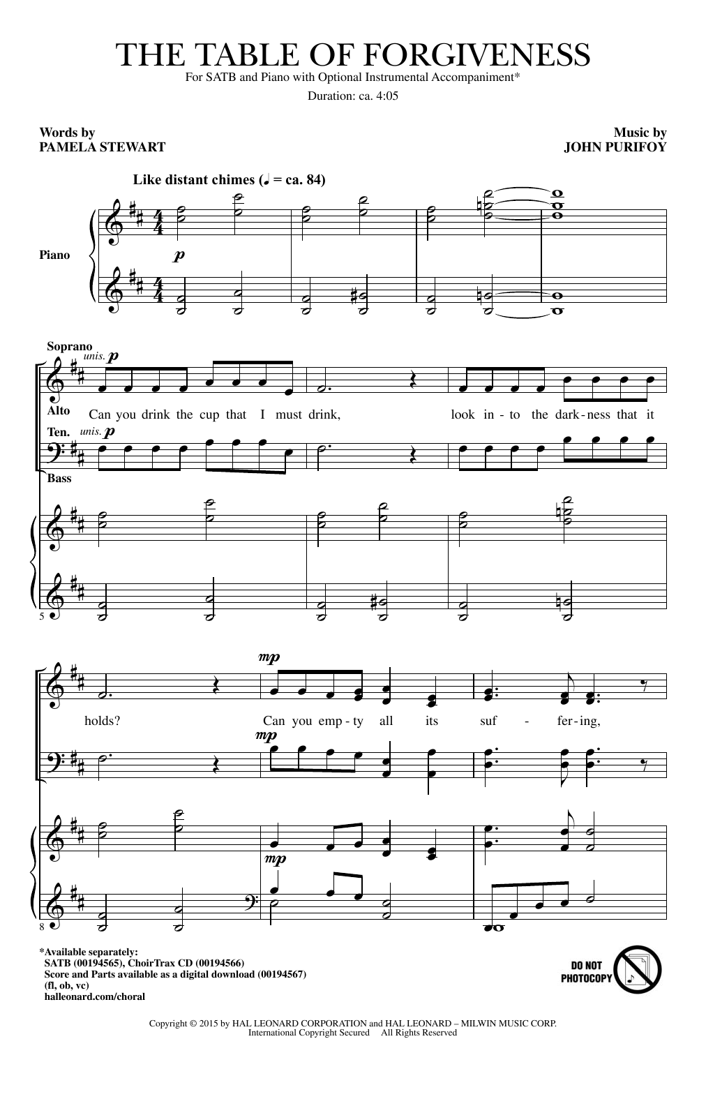 The Table Of Forgiveness Sheet Music