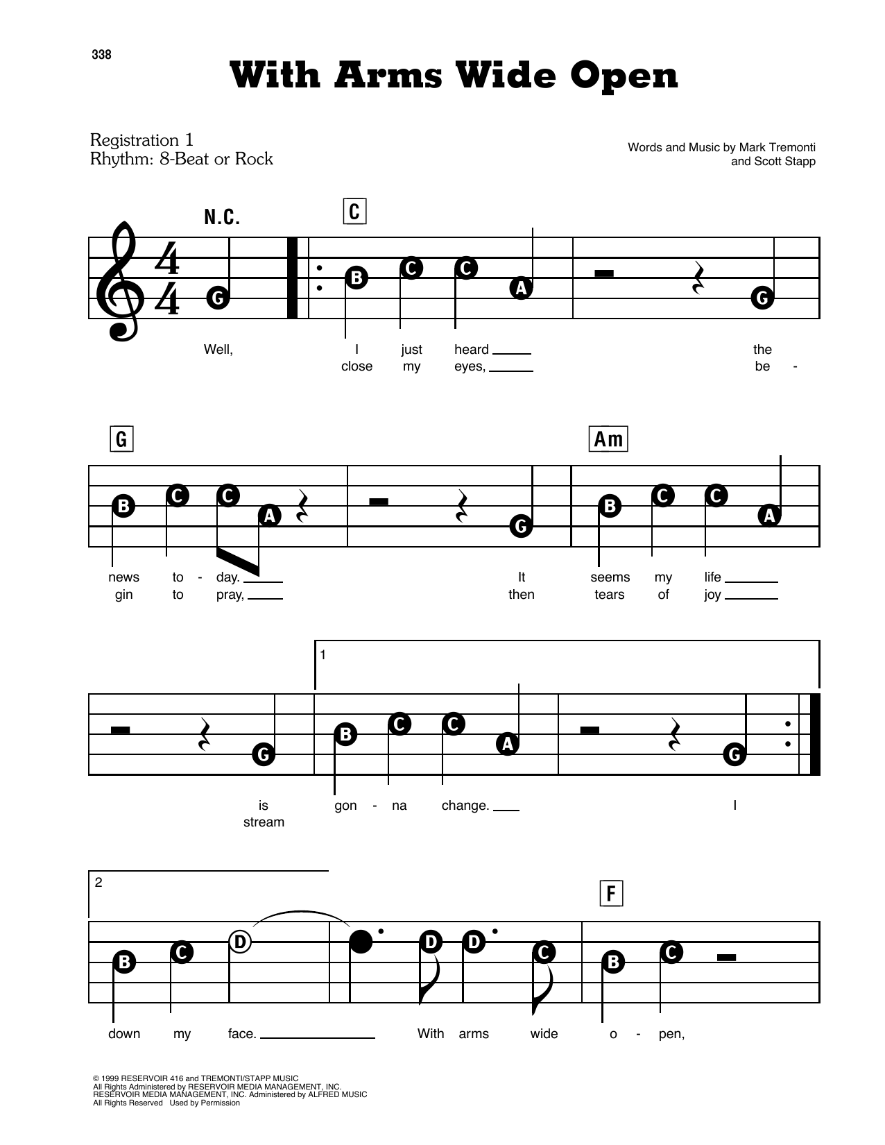 With Arms Wide Open Sheet Music