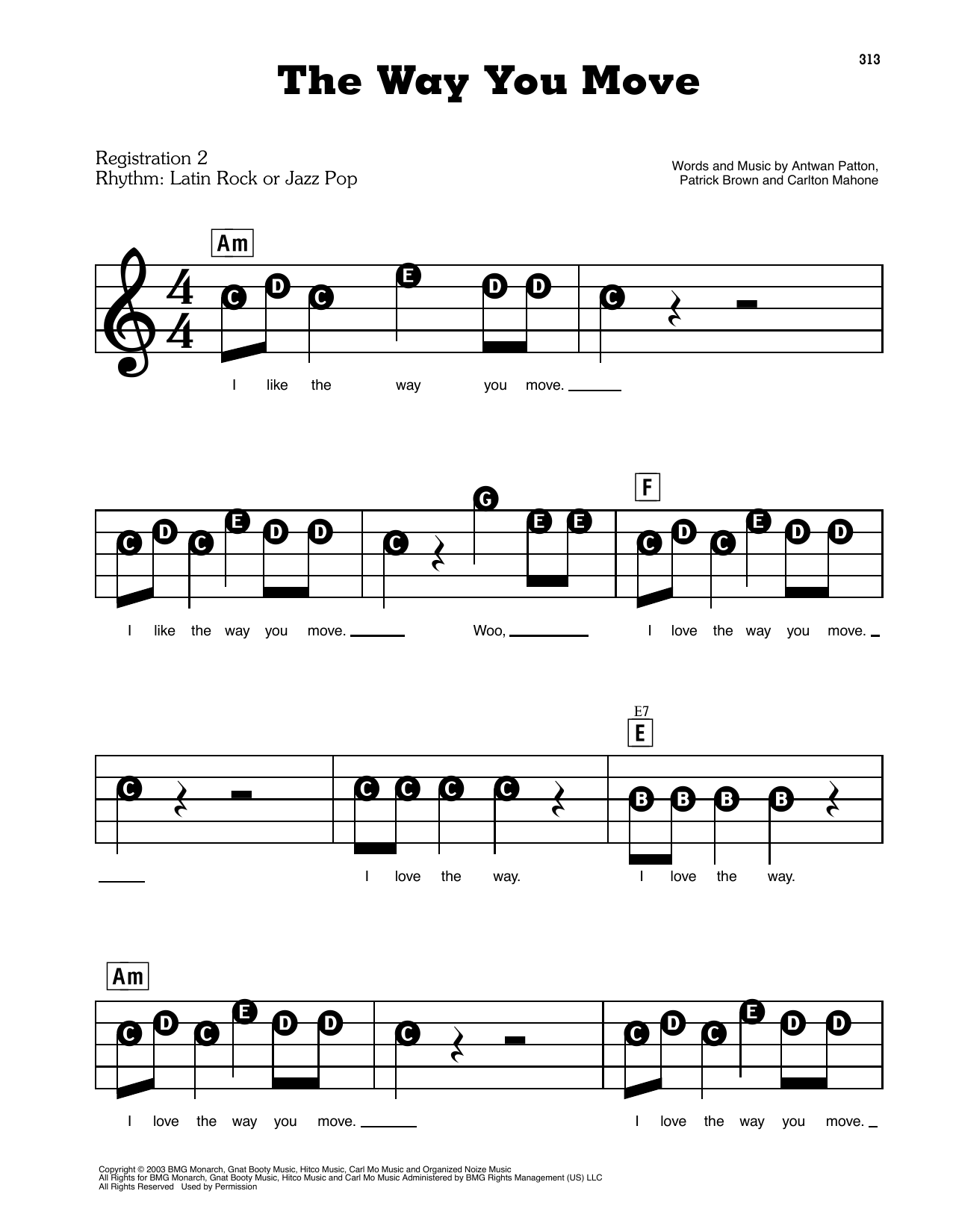 The Way You Move (feat. Sleepy Brown) Sheet Music