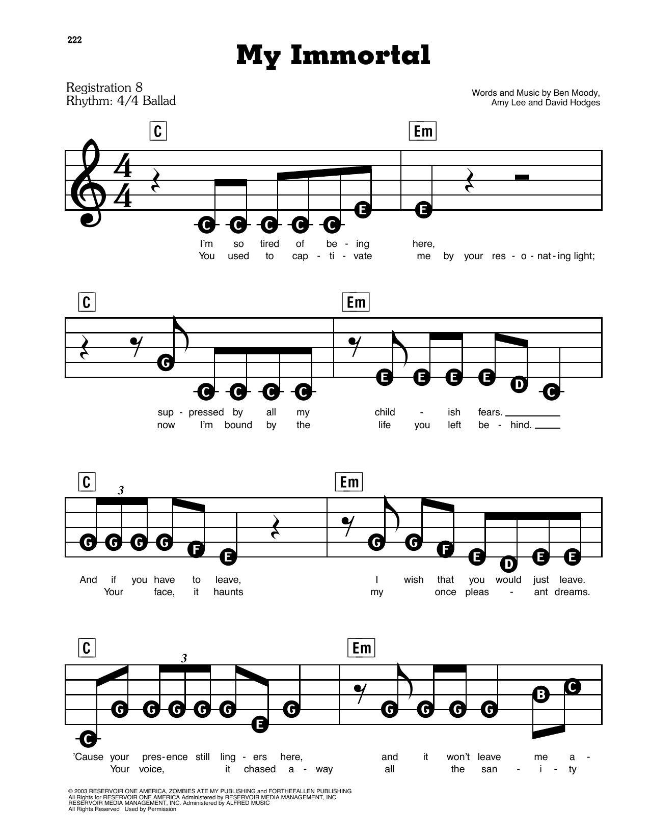 My Immortal Sheet Music