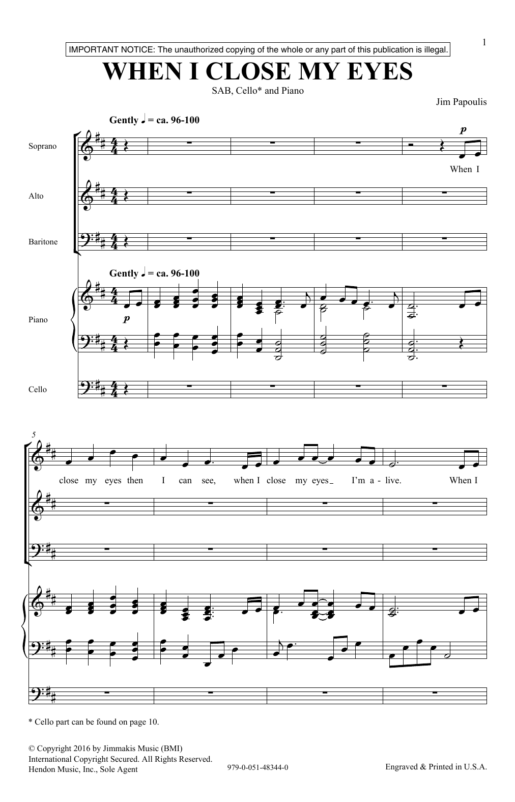 When I Close My Eyes Sheet Music