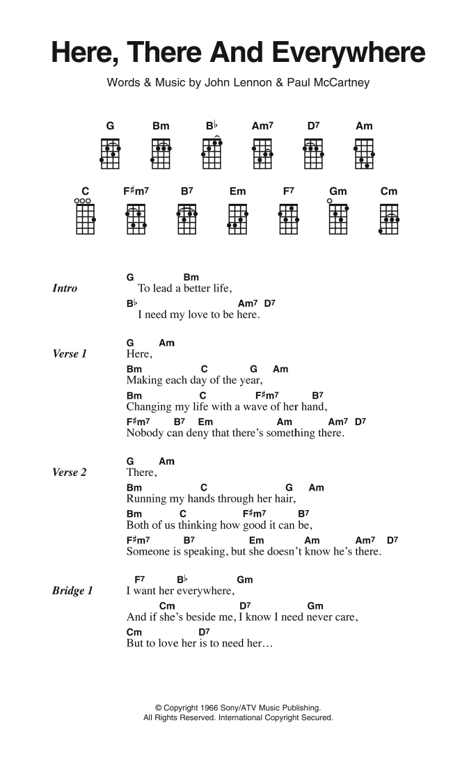 Here There And Everywhere Sheet Music The Beatles Ukulele