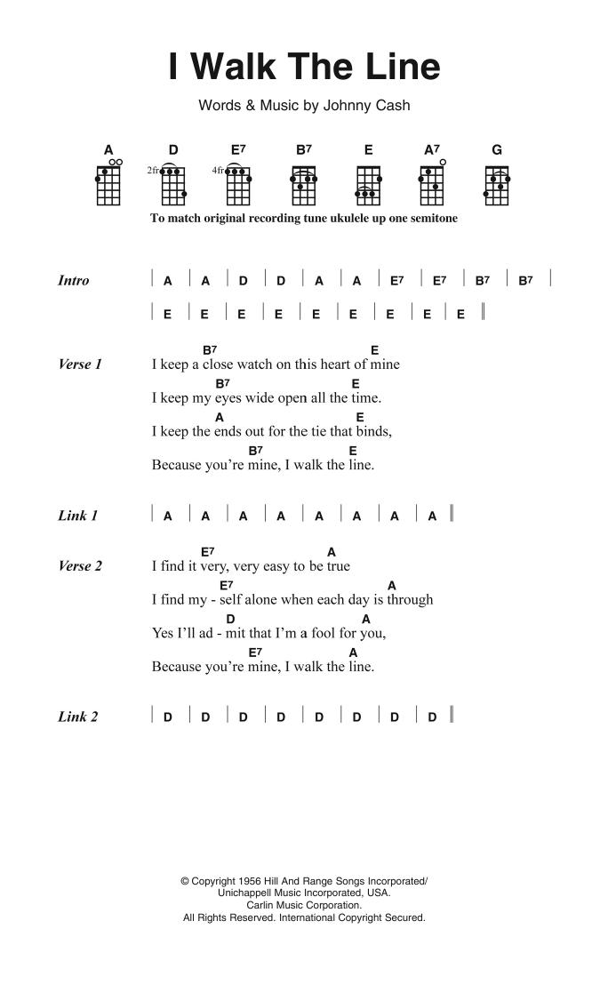 I Walk The Line Sheet Music Johnny Cash Ukulele Lyrics Chords