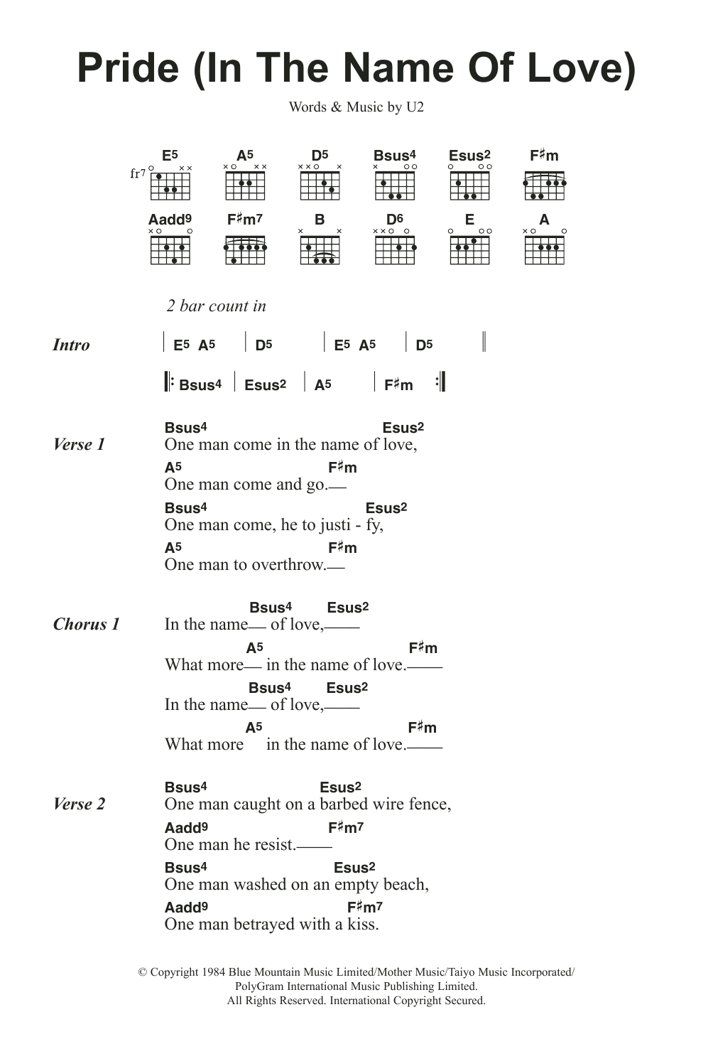Pride (In The Name Of Love) by U2 Piano, Vocal & Guitar (Right-Hand Melody)  Digital Sheet Music