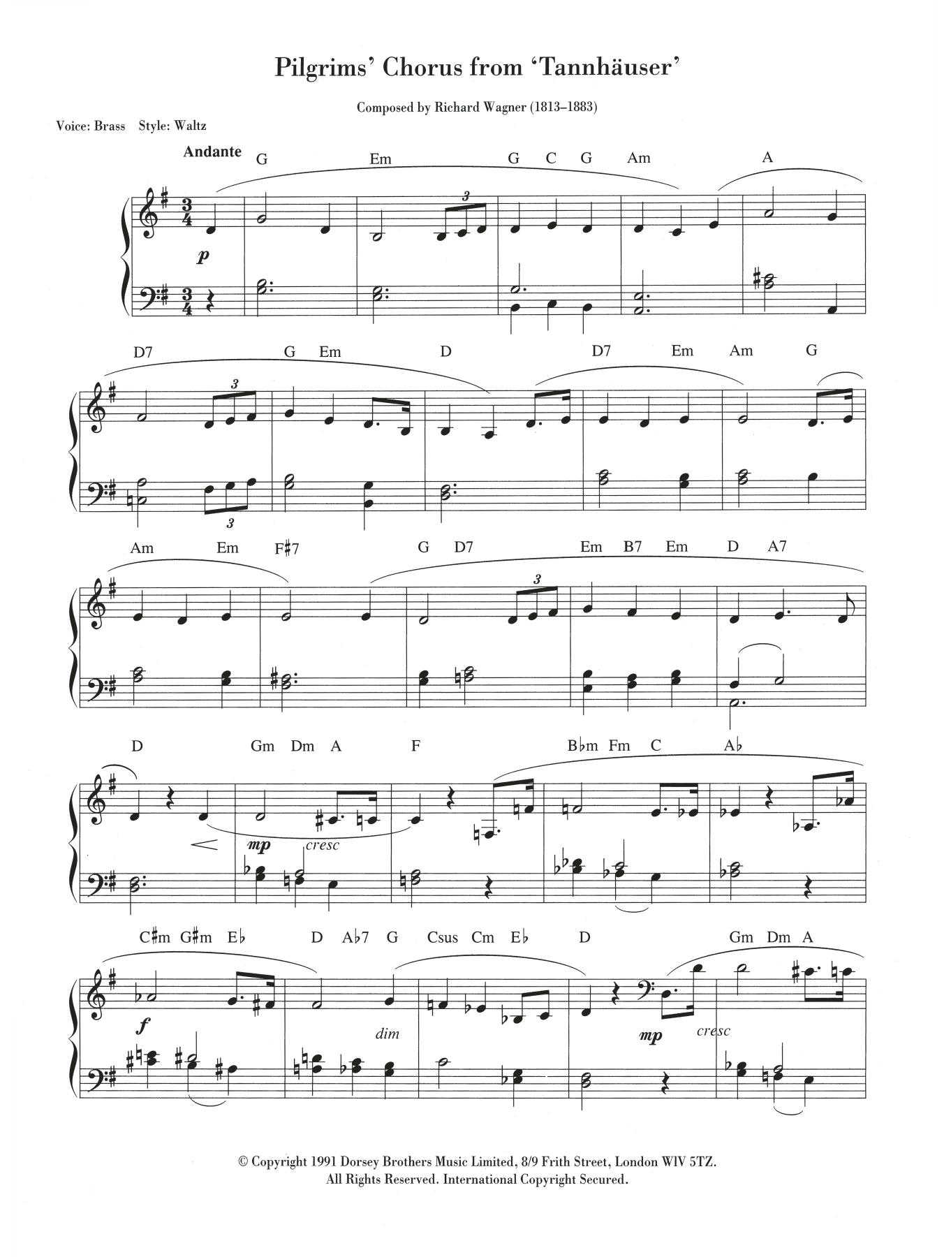 Pilgrims' March Sheet Music
