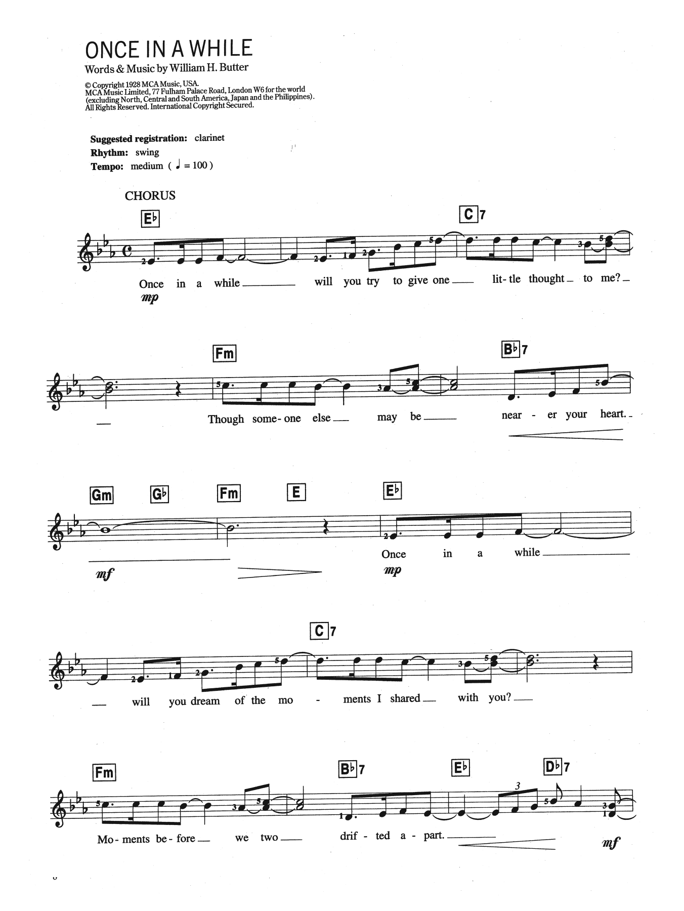 Once In A While Sheet Music