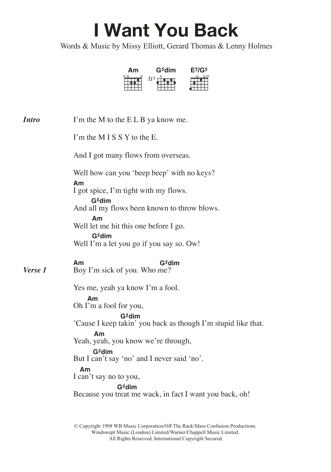 I Want You Back (feat. Missy Elliott) Sheet Music