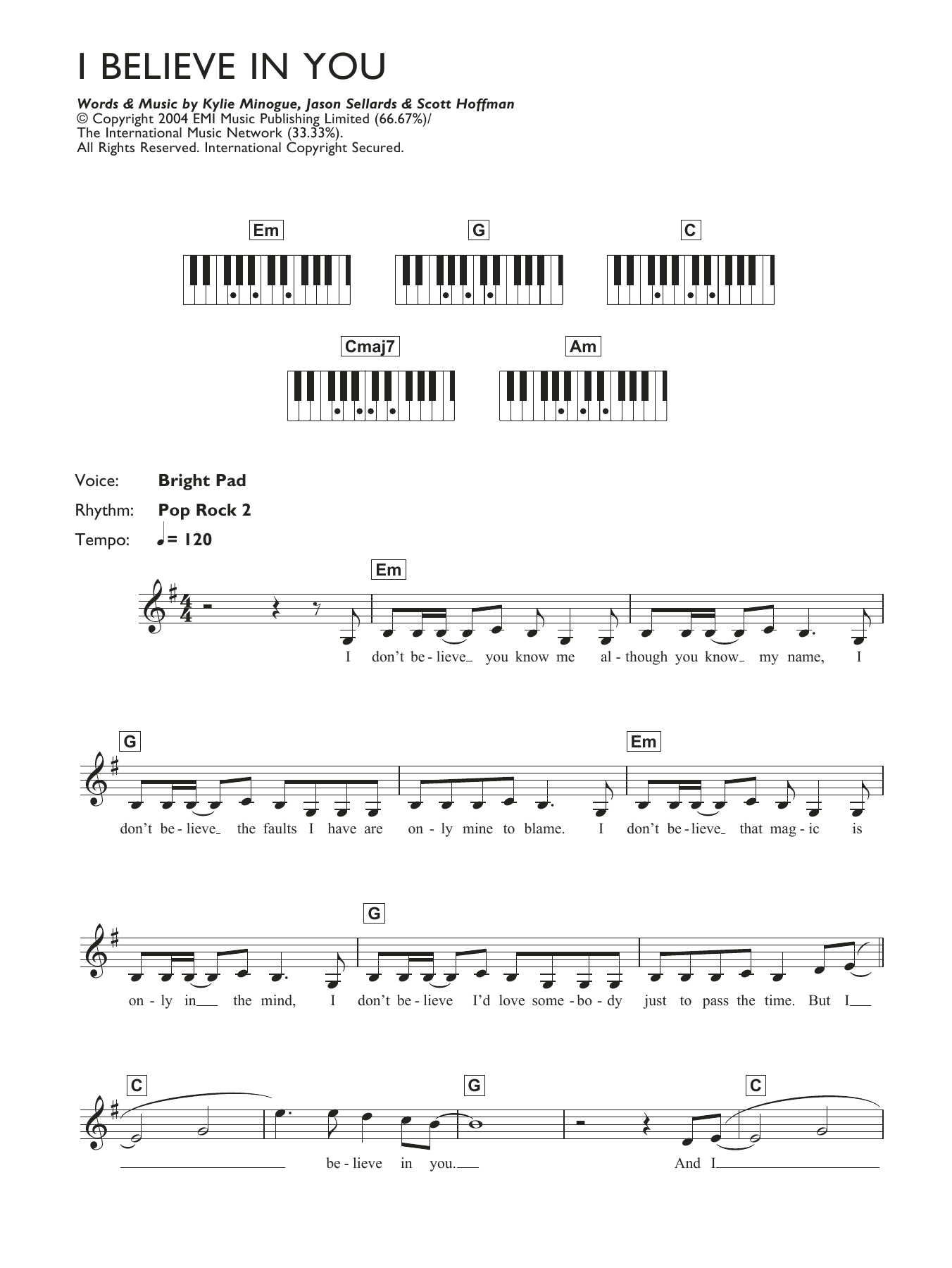 I Believe In You (Piano Chords/Lyrics)