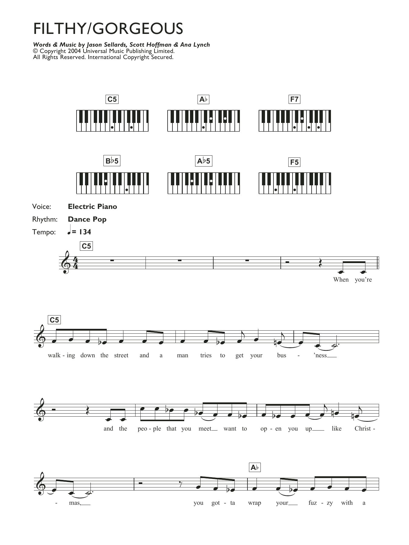 Filthy/Gorgeous Sheet Music