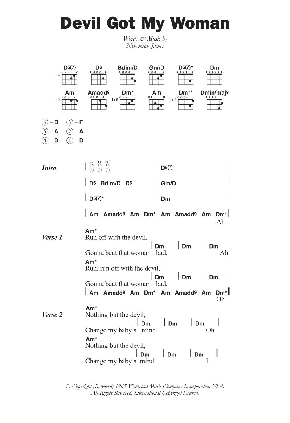 Devil Got My Woman By Skip James Guitar Chordslyrics Guitar