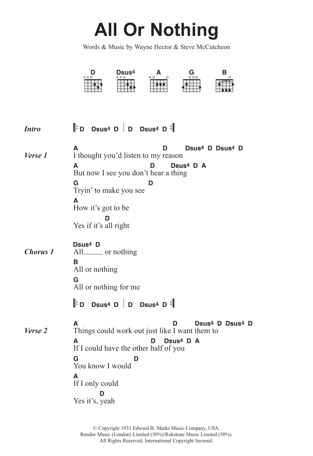 All Or Nothing By Small Faces Guitar Chordslyrics Guitar Instructor