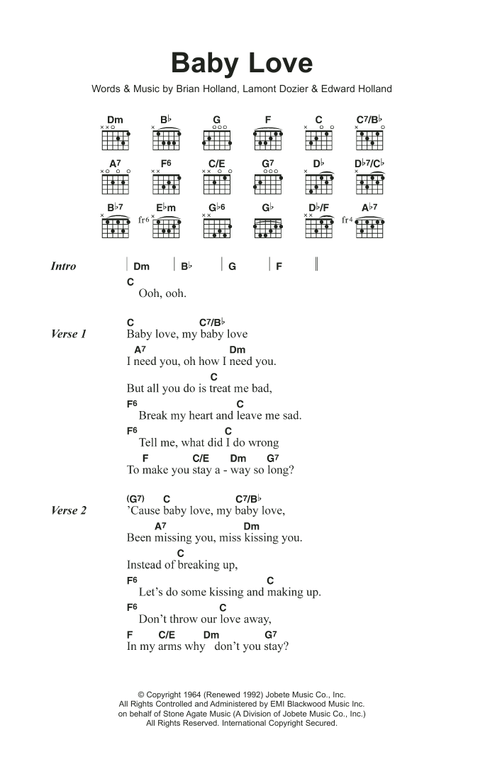 Baby Love Sheet Music The Supremes Lyrics Chords