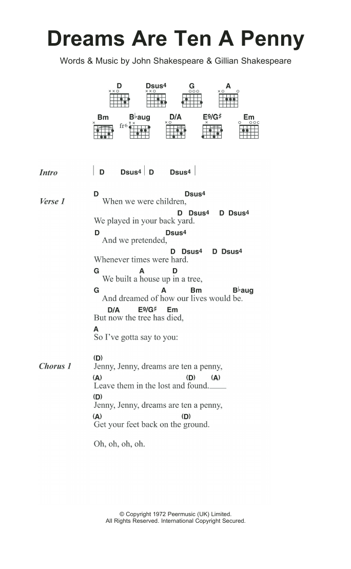 Dreams Are Ten A Penny by Kincade - Guitar Chords/Lyrics