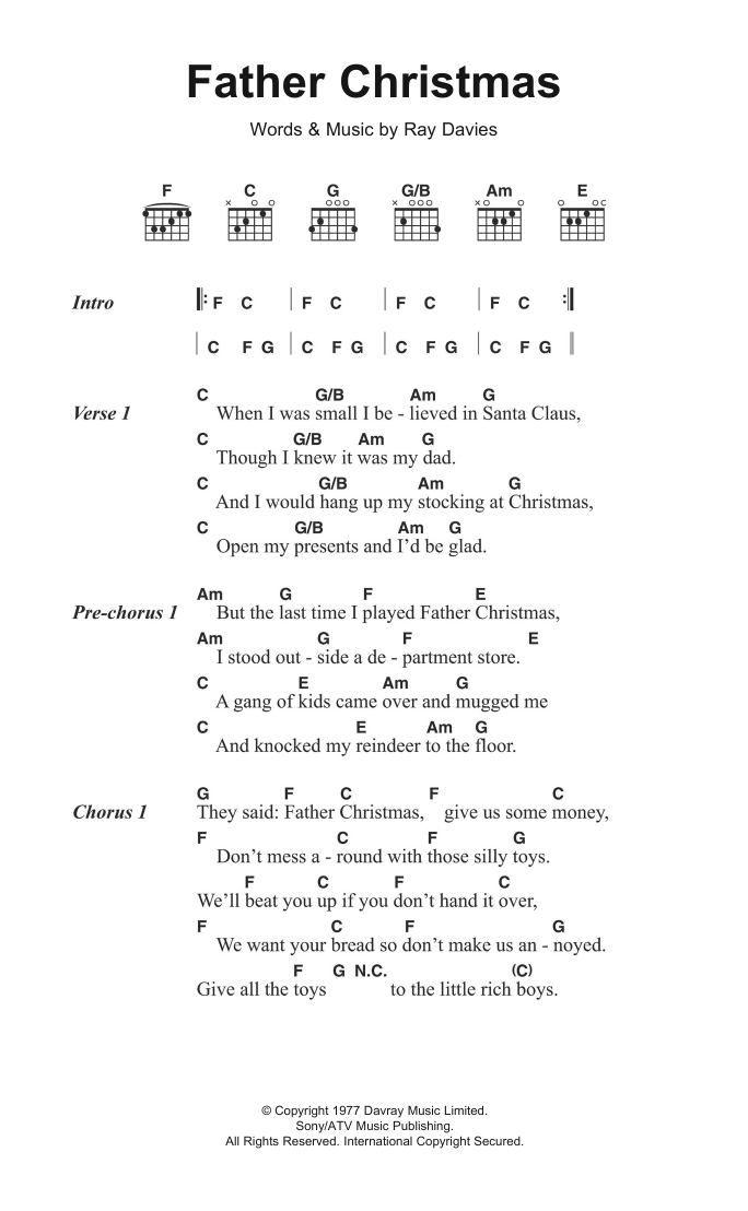 Father Christmas The Kinks.Father Christmas By The Kinks Guitar Chords Lyrics Digital Sheet Music