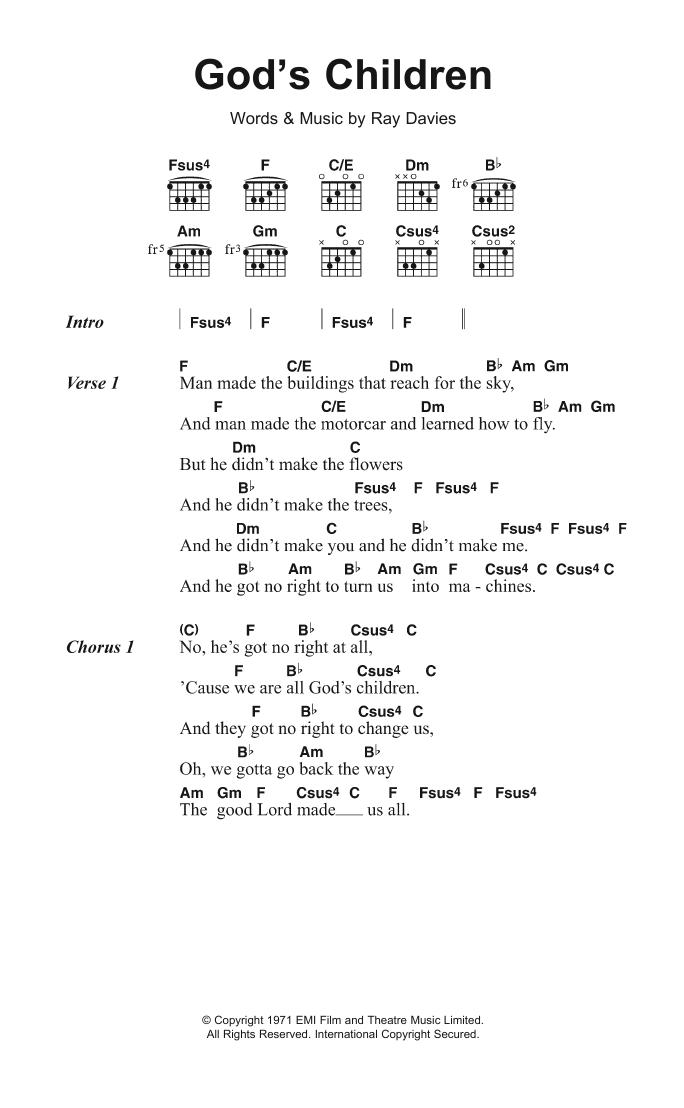 God's Children by The Kinks - Guitar Chords/Lyrics - Guitar Instructor