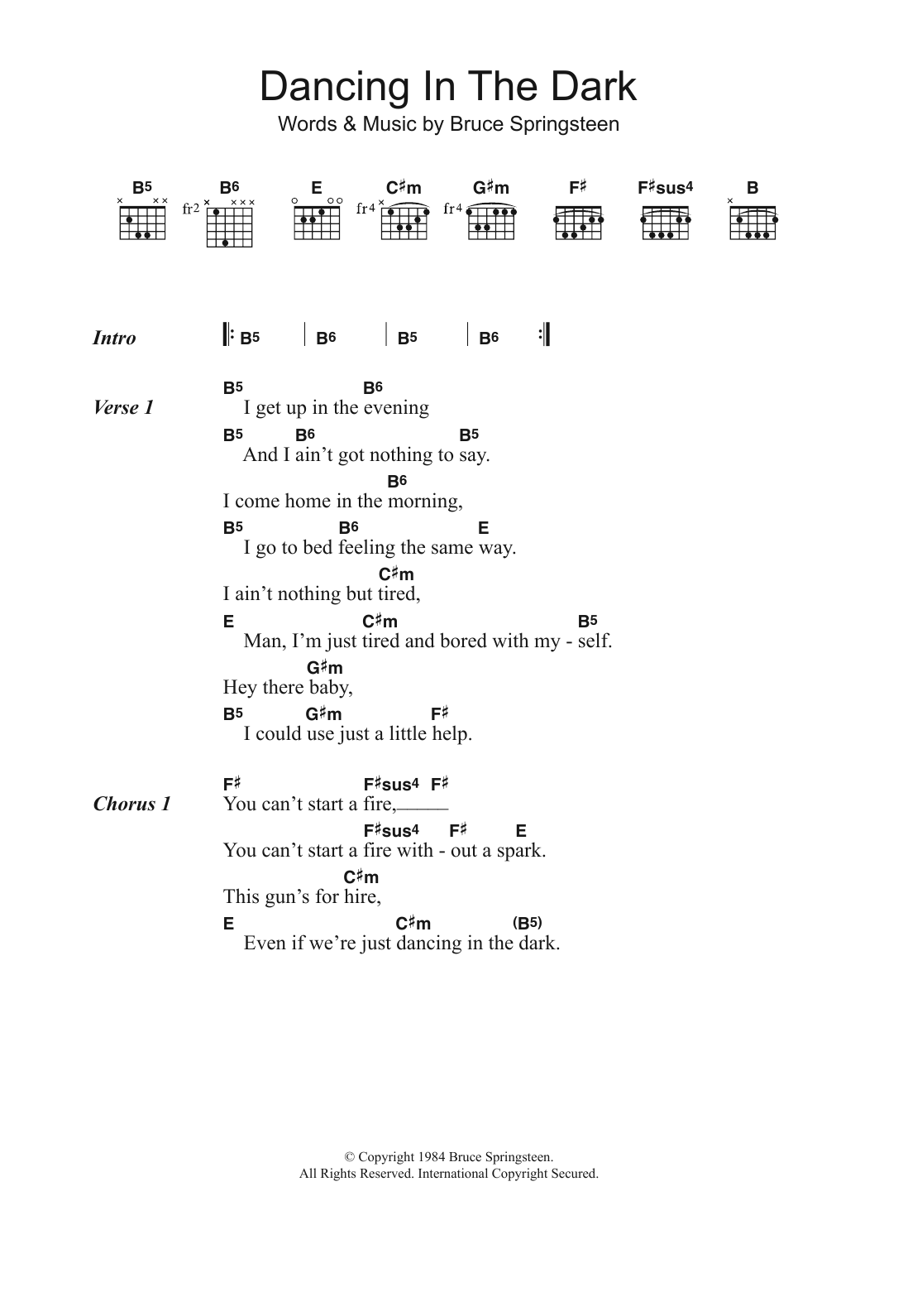 Dancing In The Dark Sheet Music Bruce Springsteen Lyrics Chords
