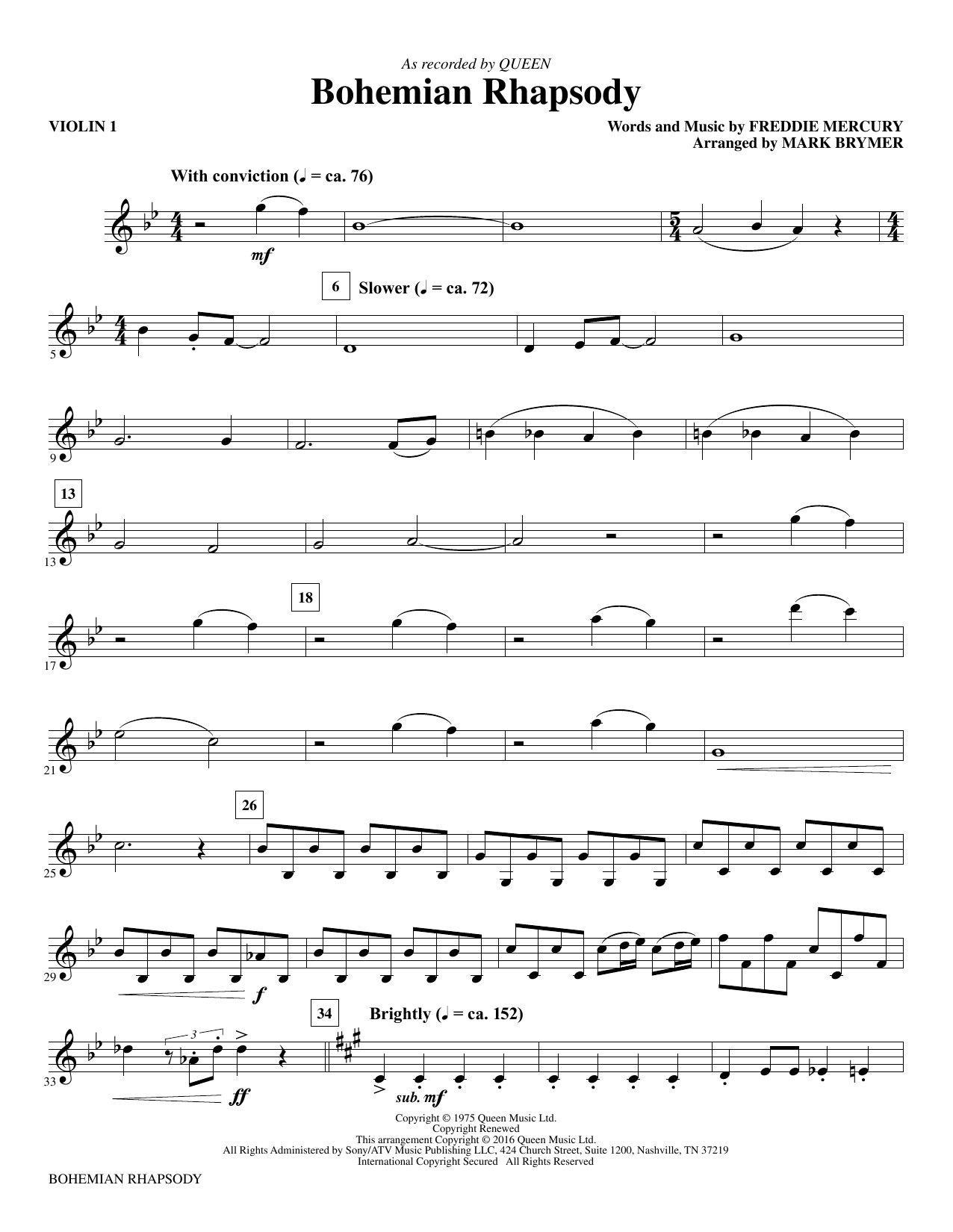 Bohemian Rhapsody (complete set of parts) sheet music for orchestra/band (Instrumental Accompaniment) by Freddie Mercury, Mark Brymer and Queen. Score Image Preview.
