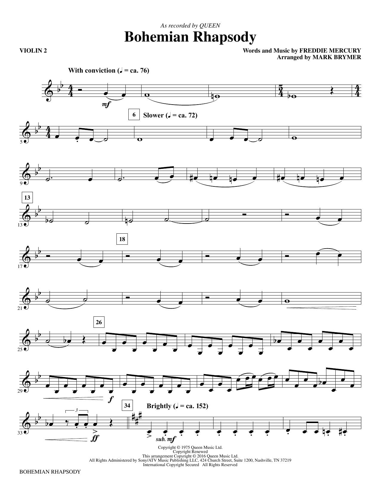 Bohemian Rhapsody - Violin 2 Sheet Music