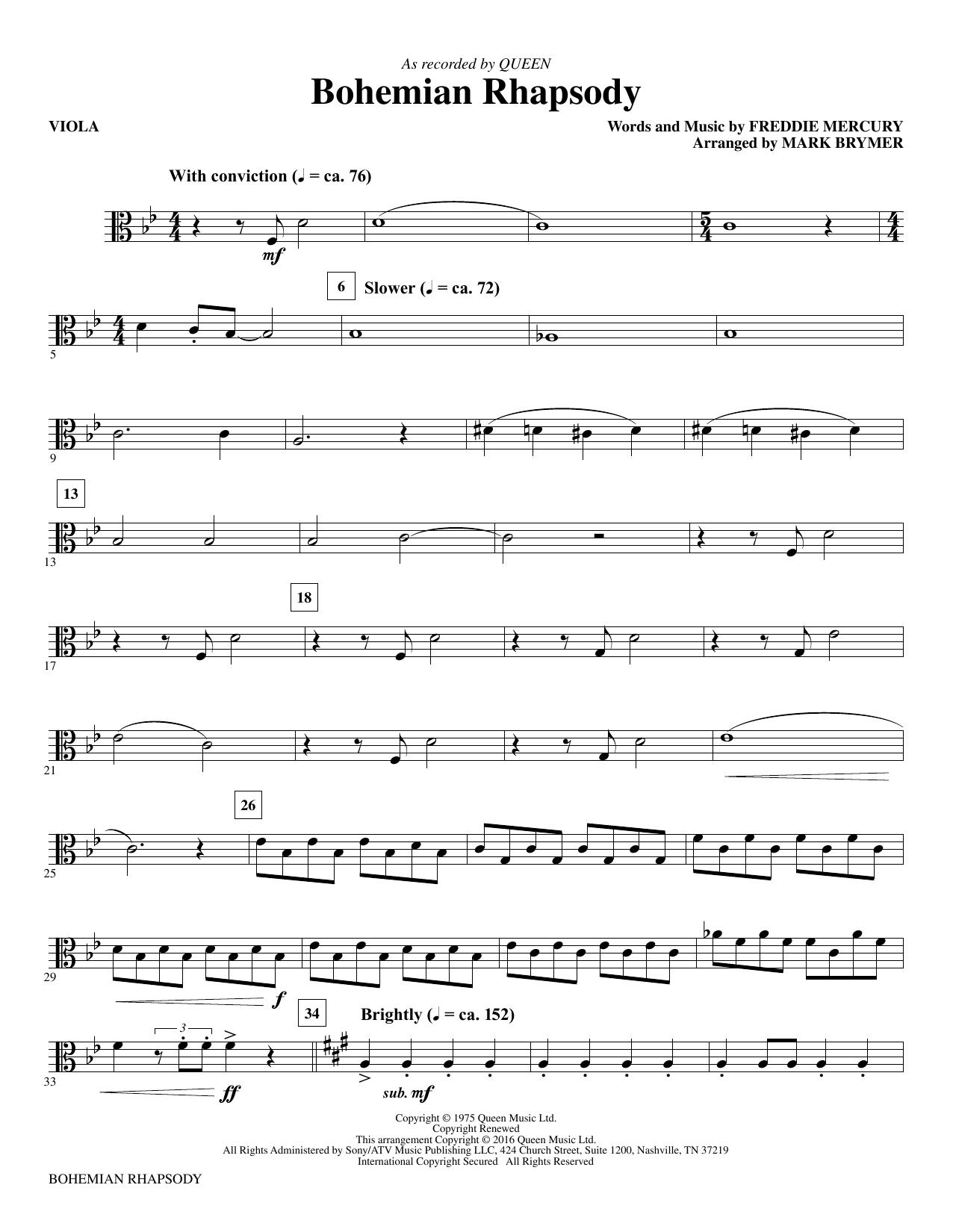 bohemian rhapsody sheet music free